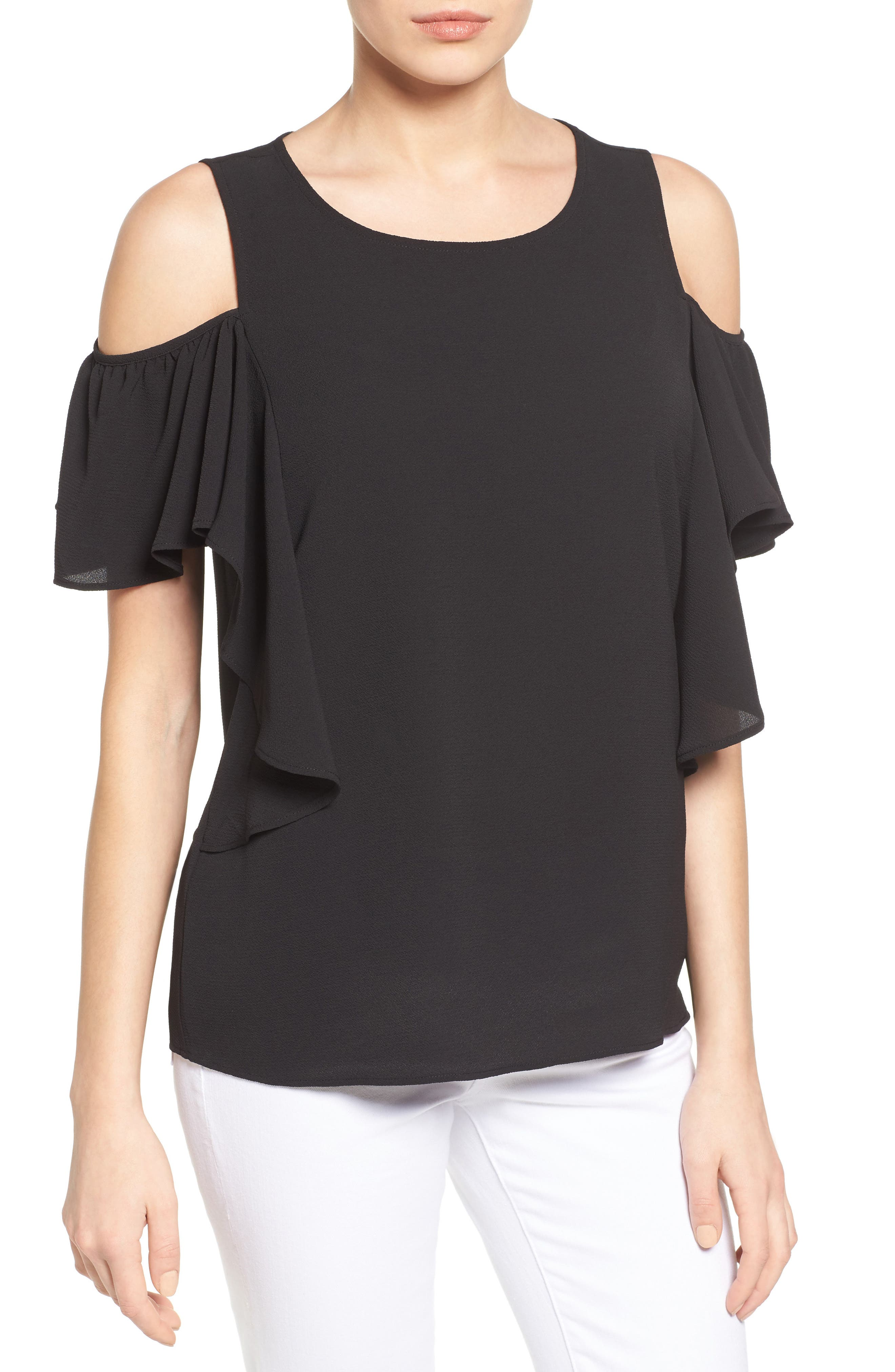 Cold Shoulder Ruffle Sleeve Top,                         Main,                         color, 015