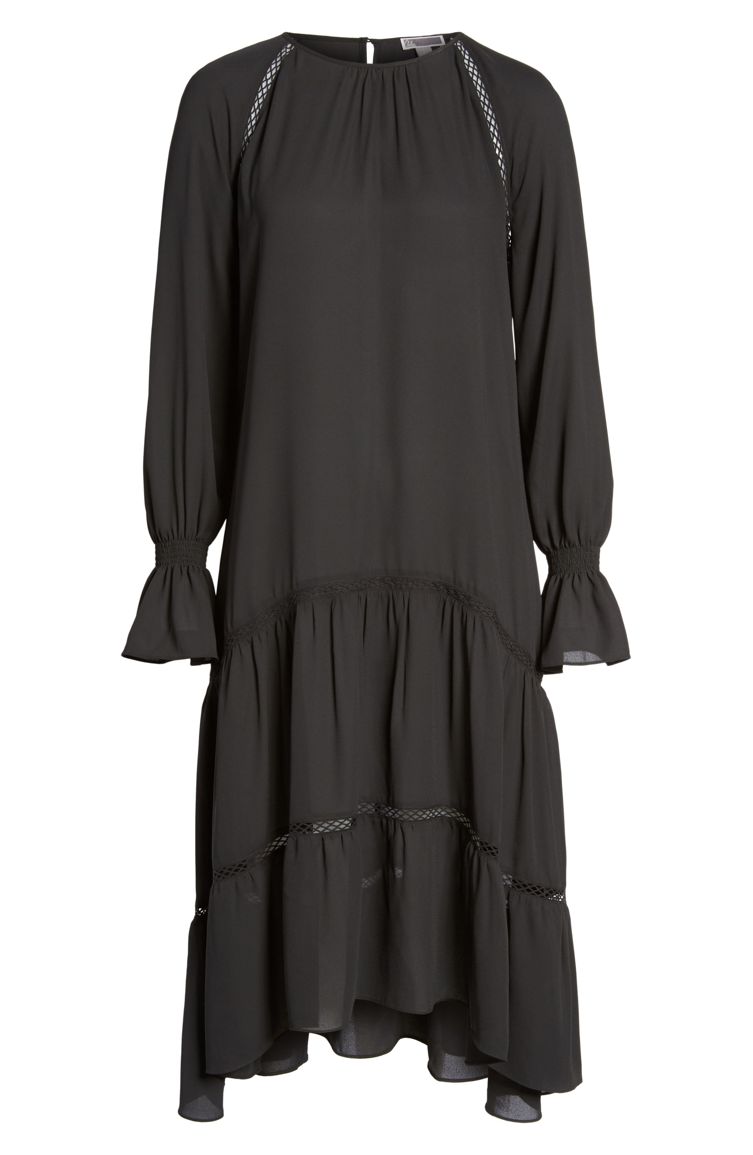 Drop Waist Midi Dress,                             Alternate thumbnail 6, color,                             001