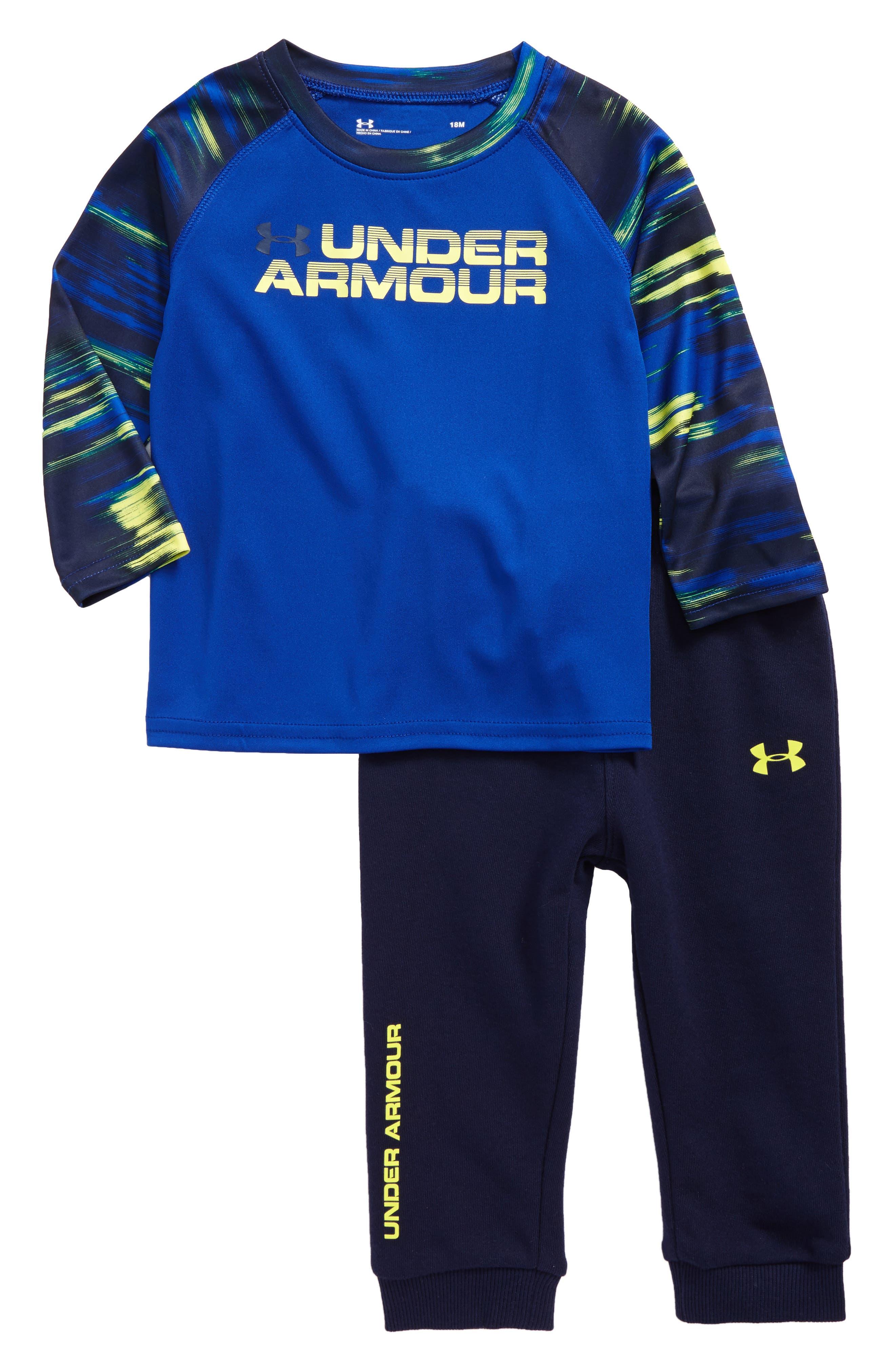 UNDER ARMOUR Accelerate T-Shirt & Sweatpants Set, Main, color, 450