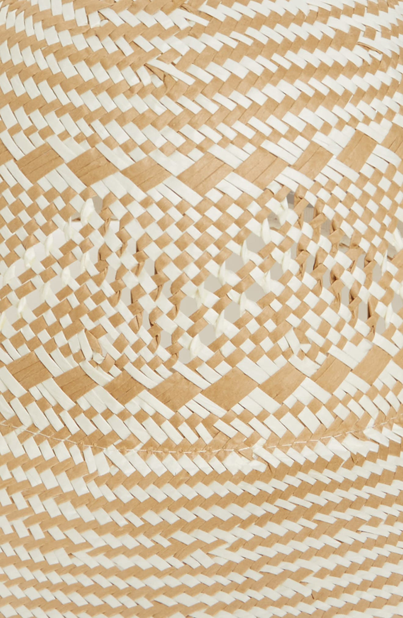 Two-Tone Floppy Straw Hat,                             Alternate thumbnail 4, color,