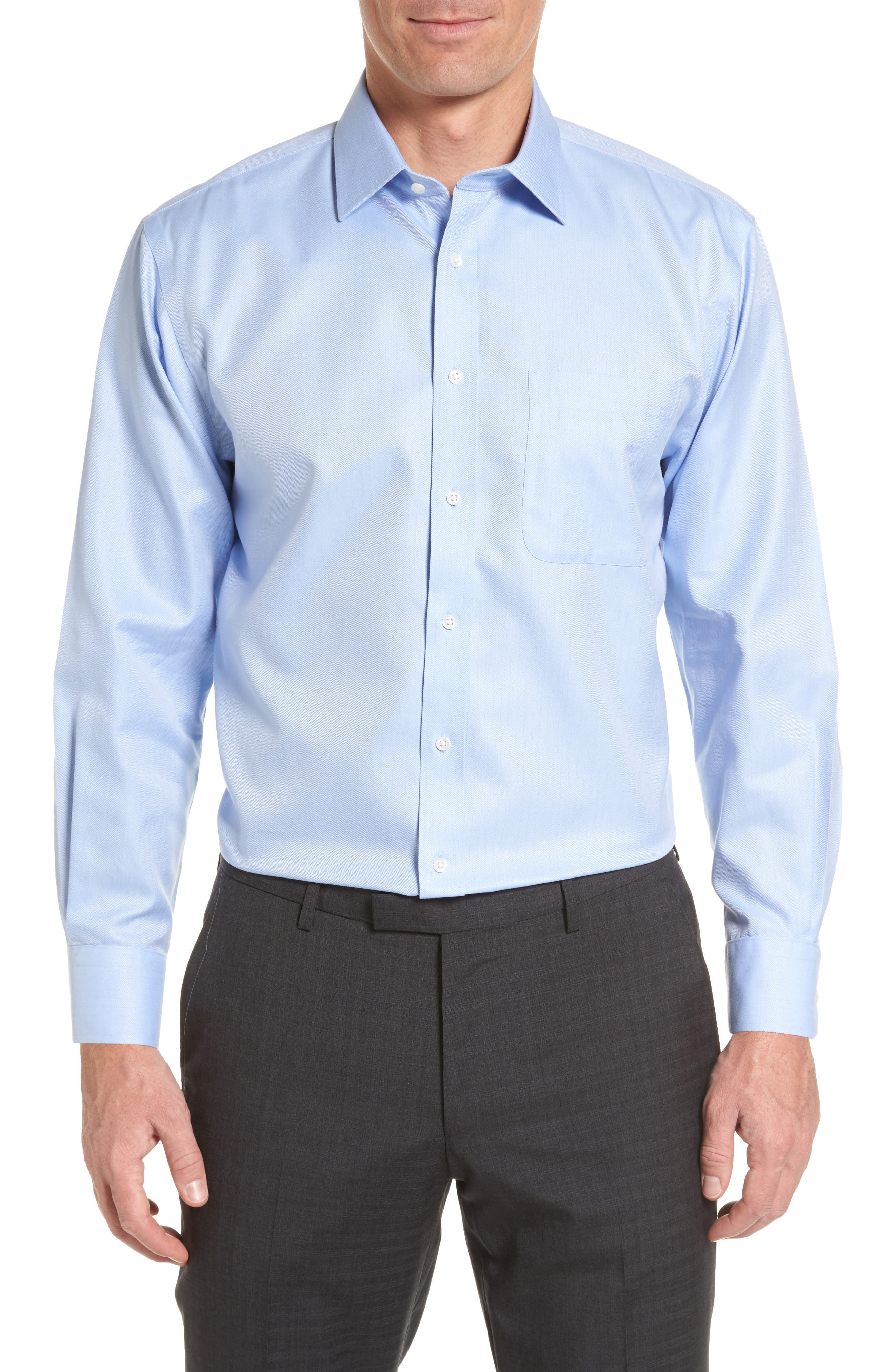 Nordstrom Shop Smartcare(TM) Traditional Fit Herringbone Dress Shirt - Blue