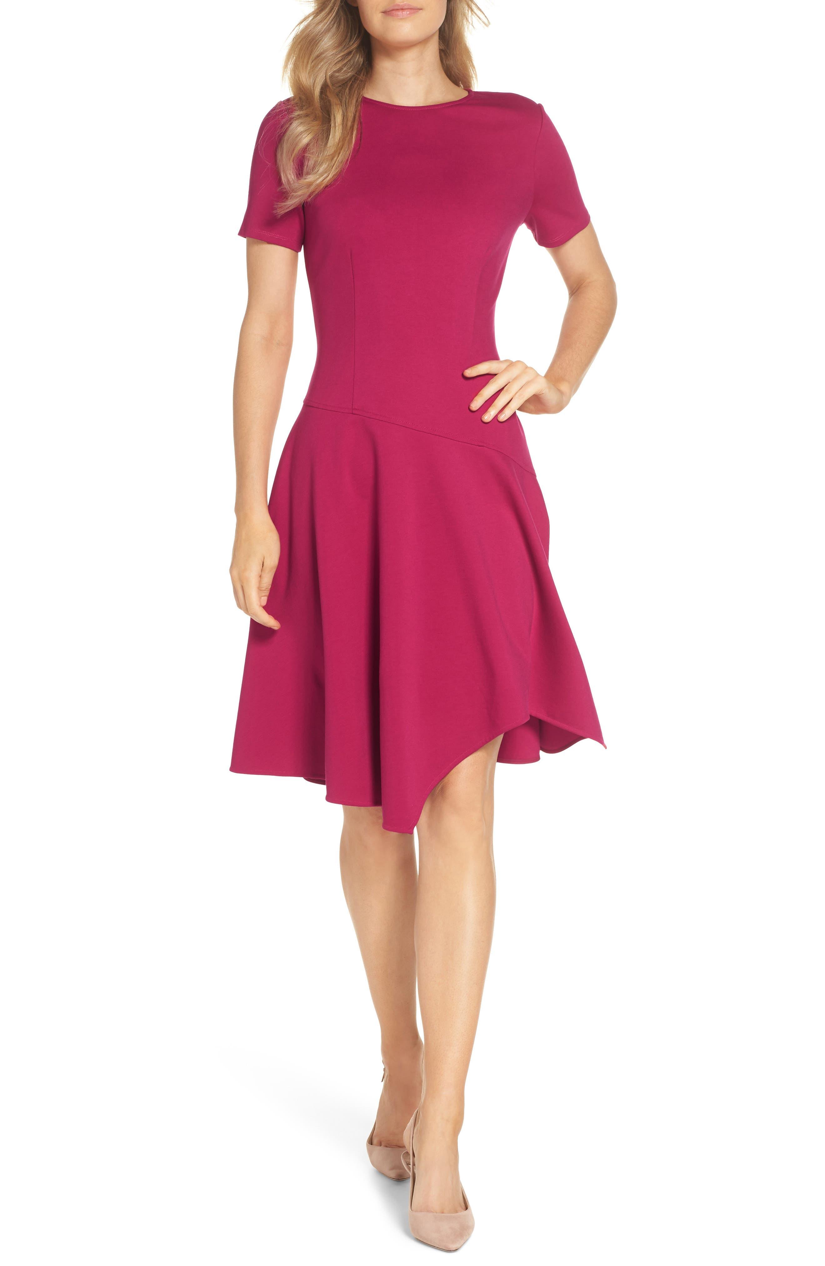 Eliza J Drop Waist Fit & Flare Dress, Pink