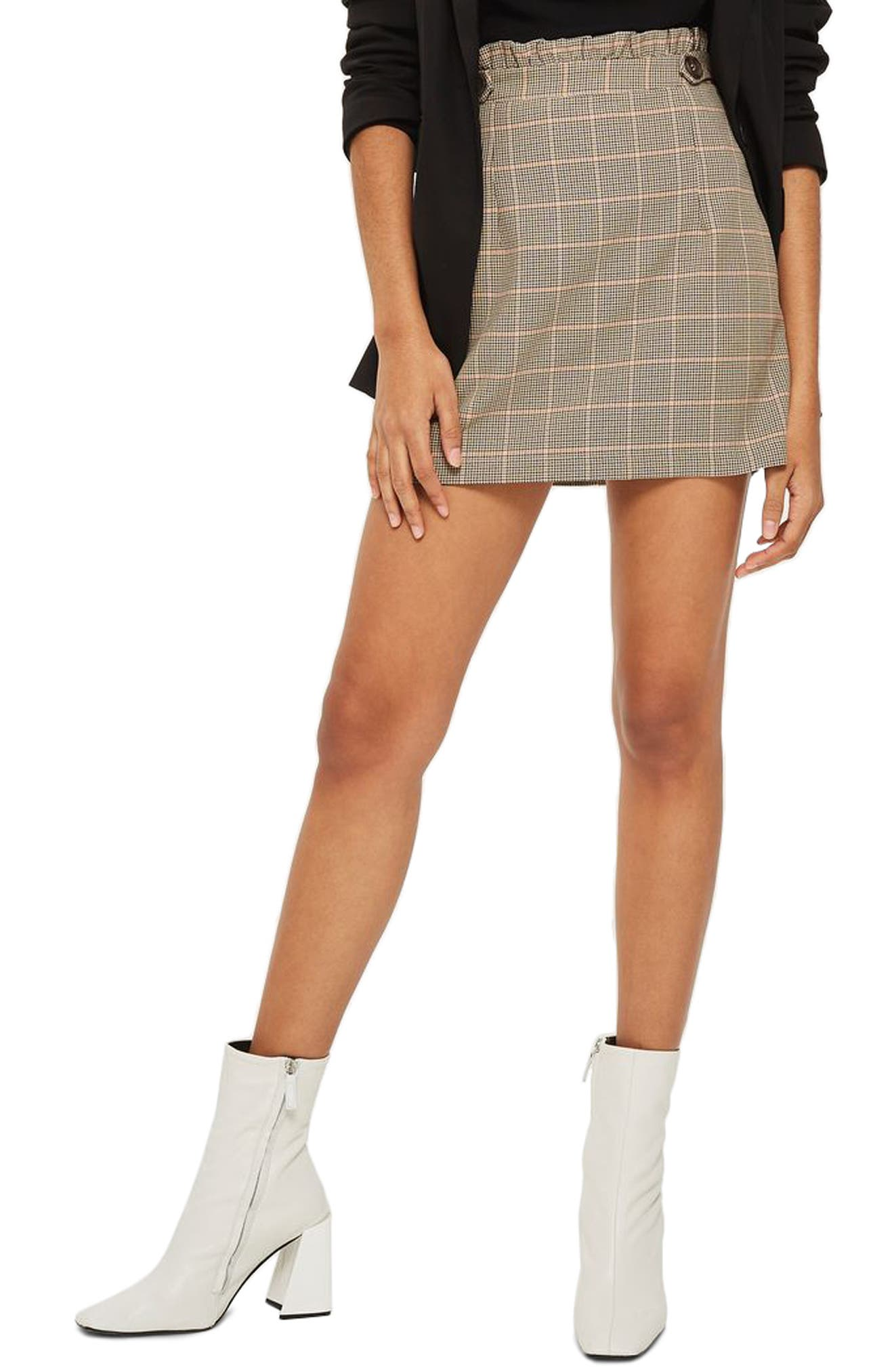 Frill Edge Heritage Check Skirt,                             Main thumbnail 1, color,                             230