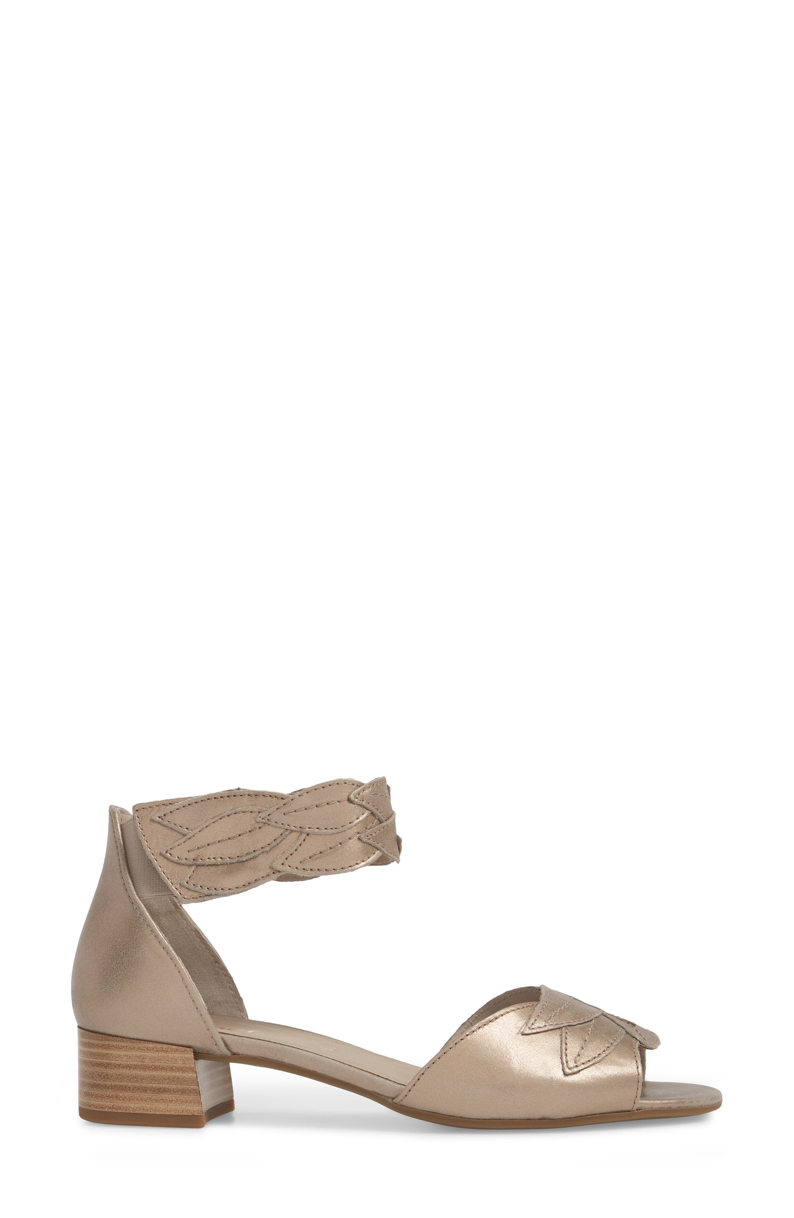 Leaf Ankle Strap Sandal,                             Alternate thumbnail 3, color,                             BEIGE METALLIC LEATHER
