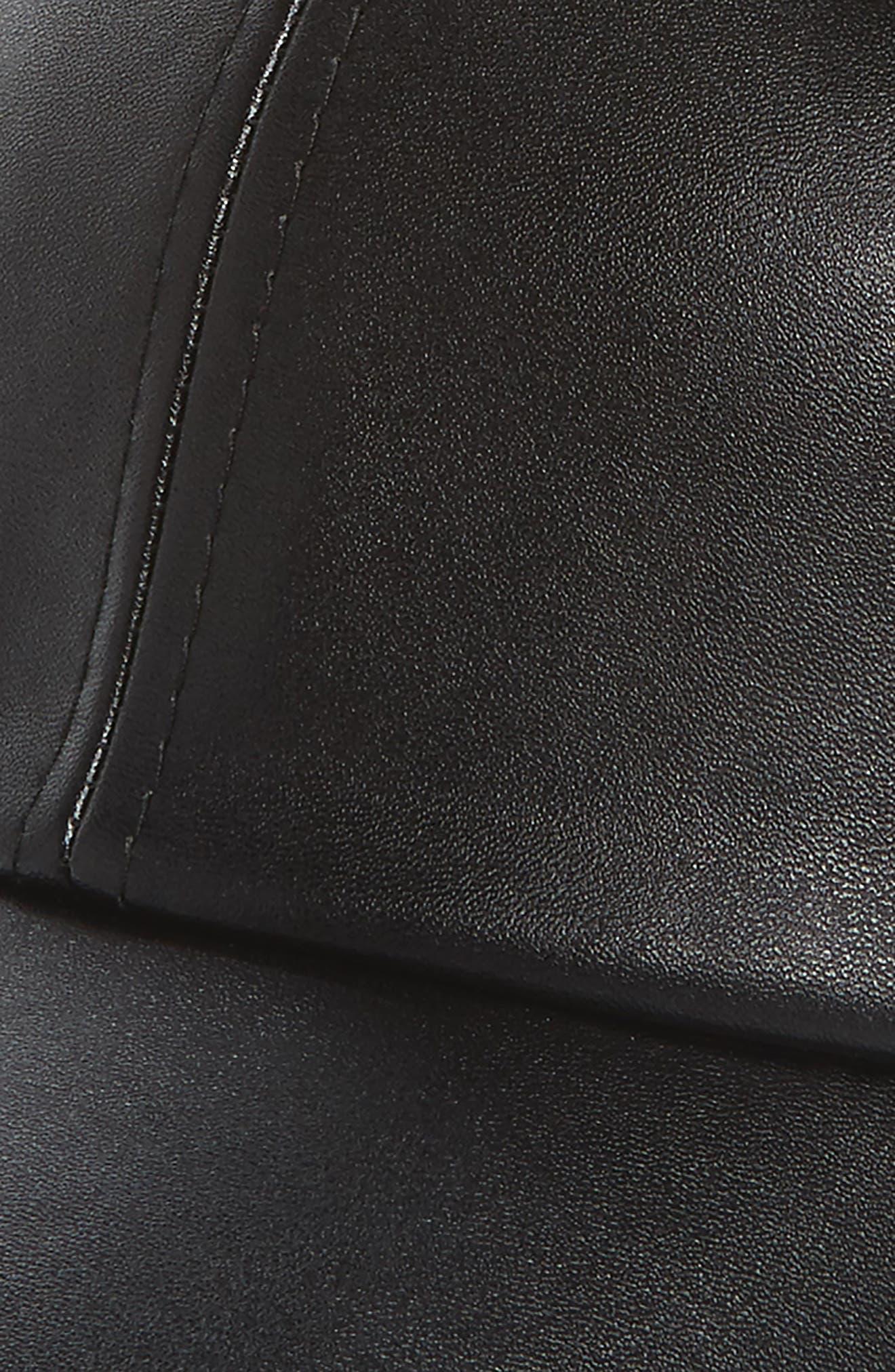Faux Leather Cap with Faux Fur Pompom,                             Alternate thumbnail 5, color,