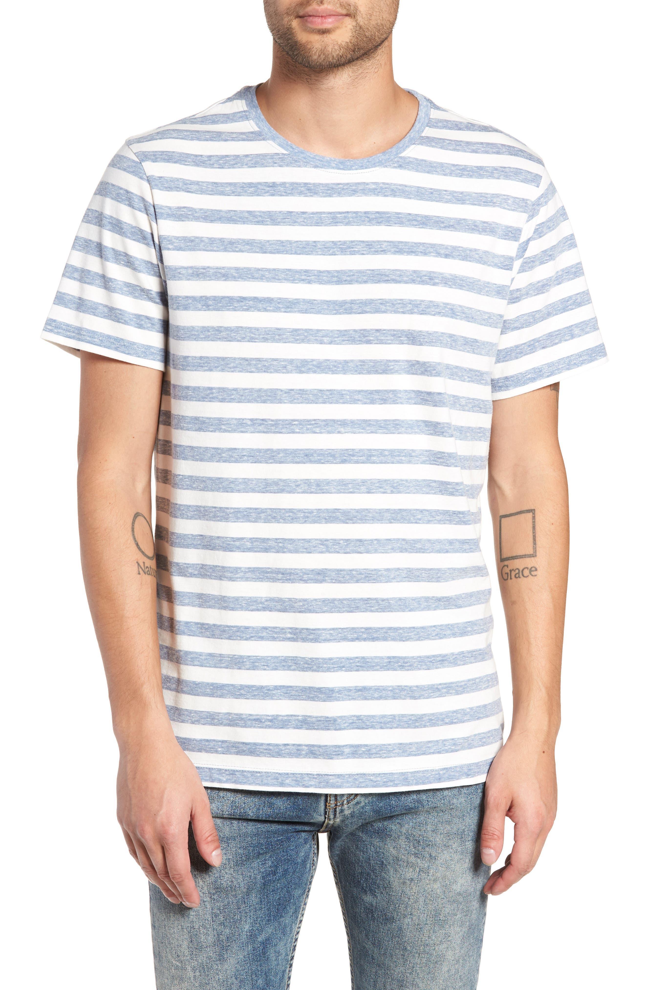 Stripe Crewneck T-Shirt,                             Main thumbnail 1, color,                             BLUE CHAMBRAY- WHITE STRIPE