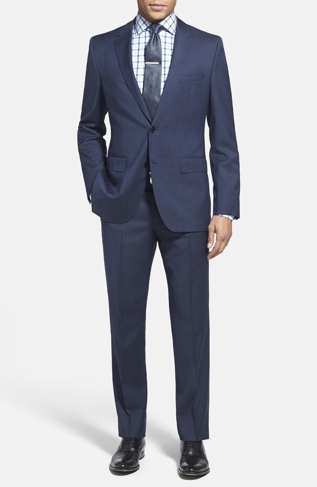 ZZDNUHUGO BOSS,                             BOSS 'James/Sharp' Trim Fit Herringbone Suit,                             Main thumbnail 1, color,                             410