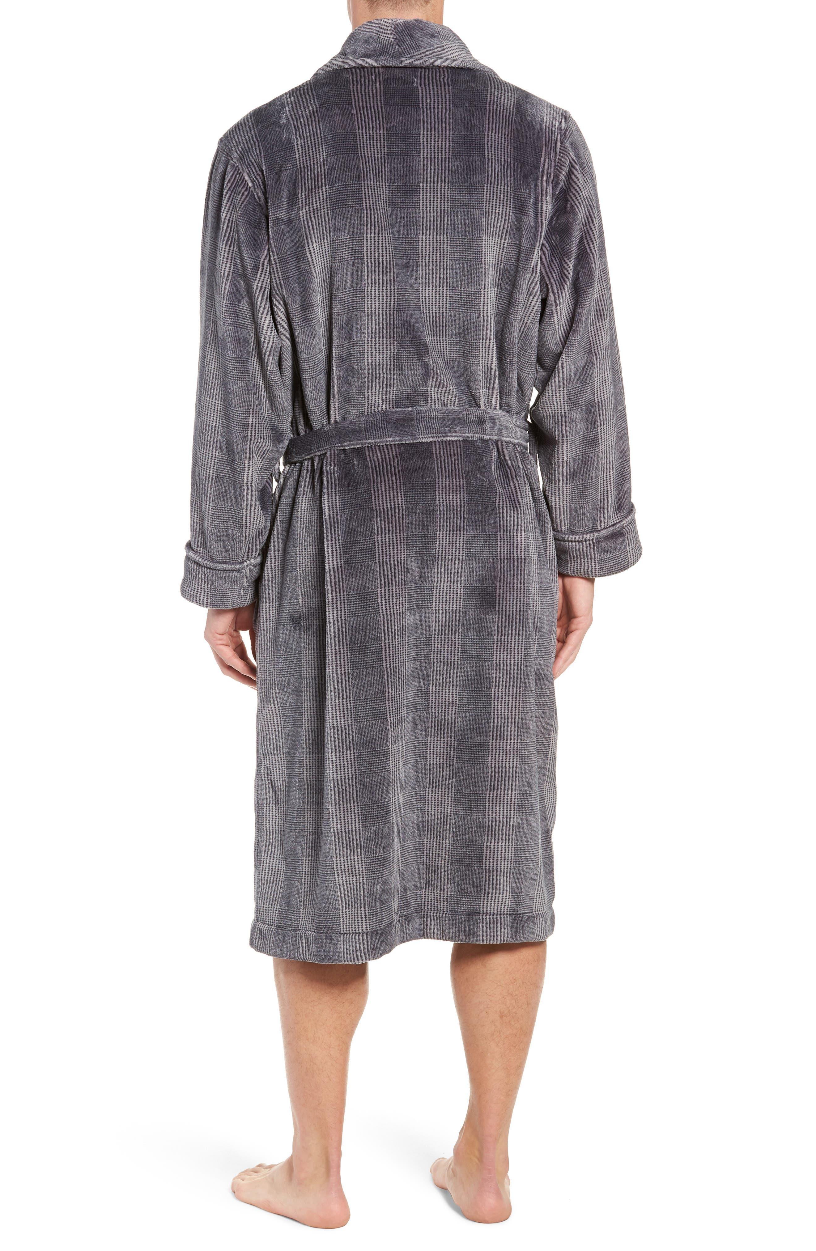 Glen Check Fleece Robe,                             Alternate thumbnail 2, color,                             BLACK - CHARCOAL GLEN CHECK