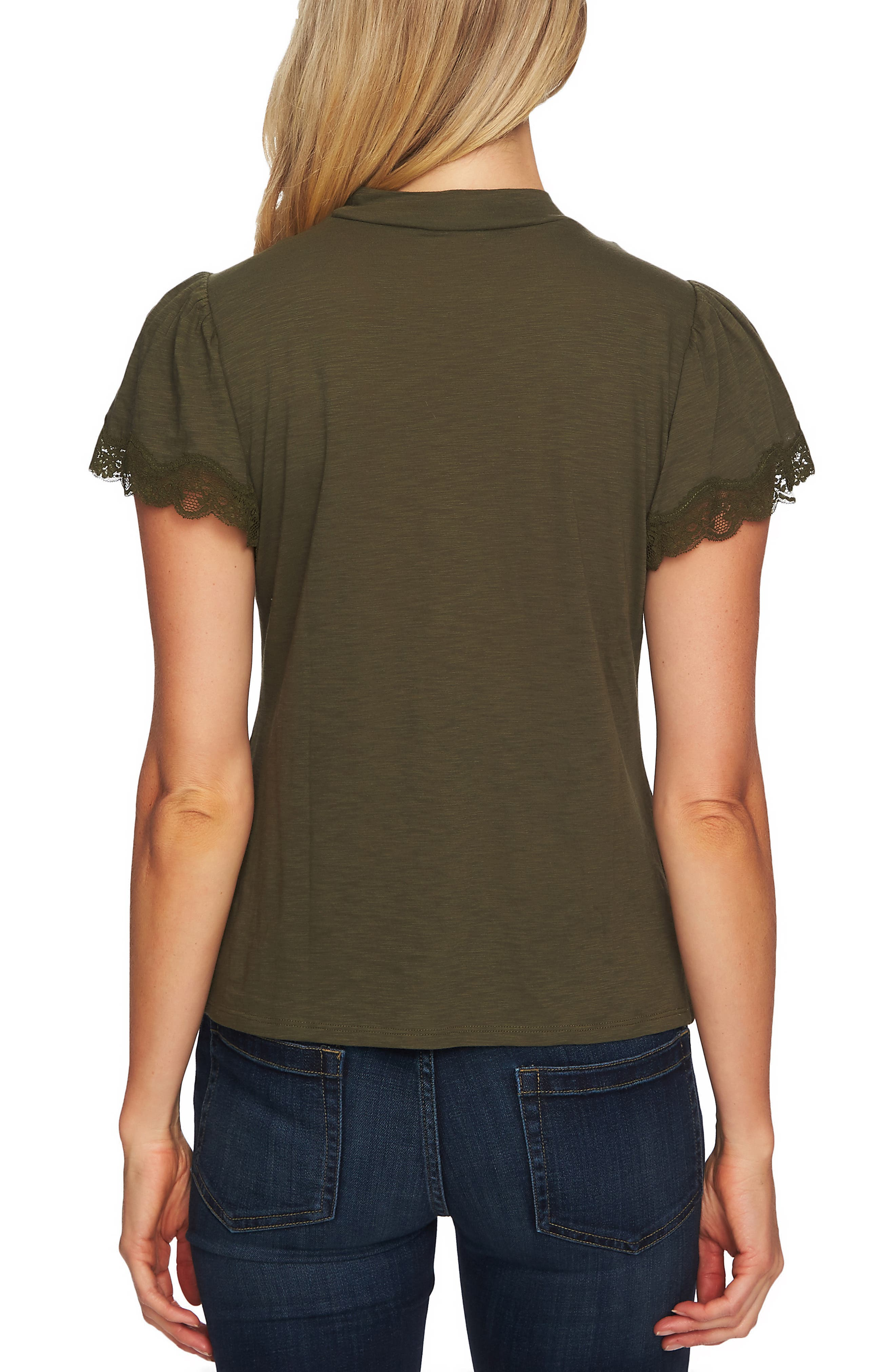 Lace Detail Cotton Blend Tee,                             Alternate thumbnail 2, color,                             MILITARY GREEN