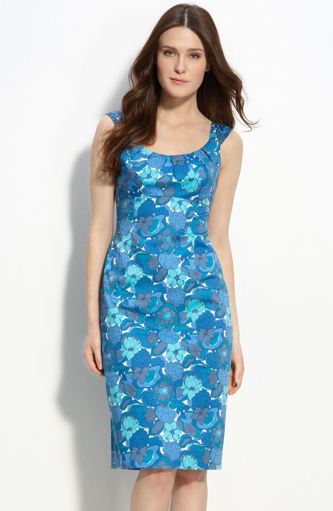 MAGGY LONDON,                             Stretch Cotton Sheath Dress,                             Main thumbnail 1, color,                             400
