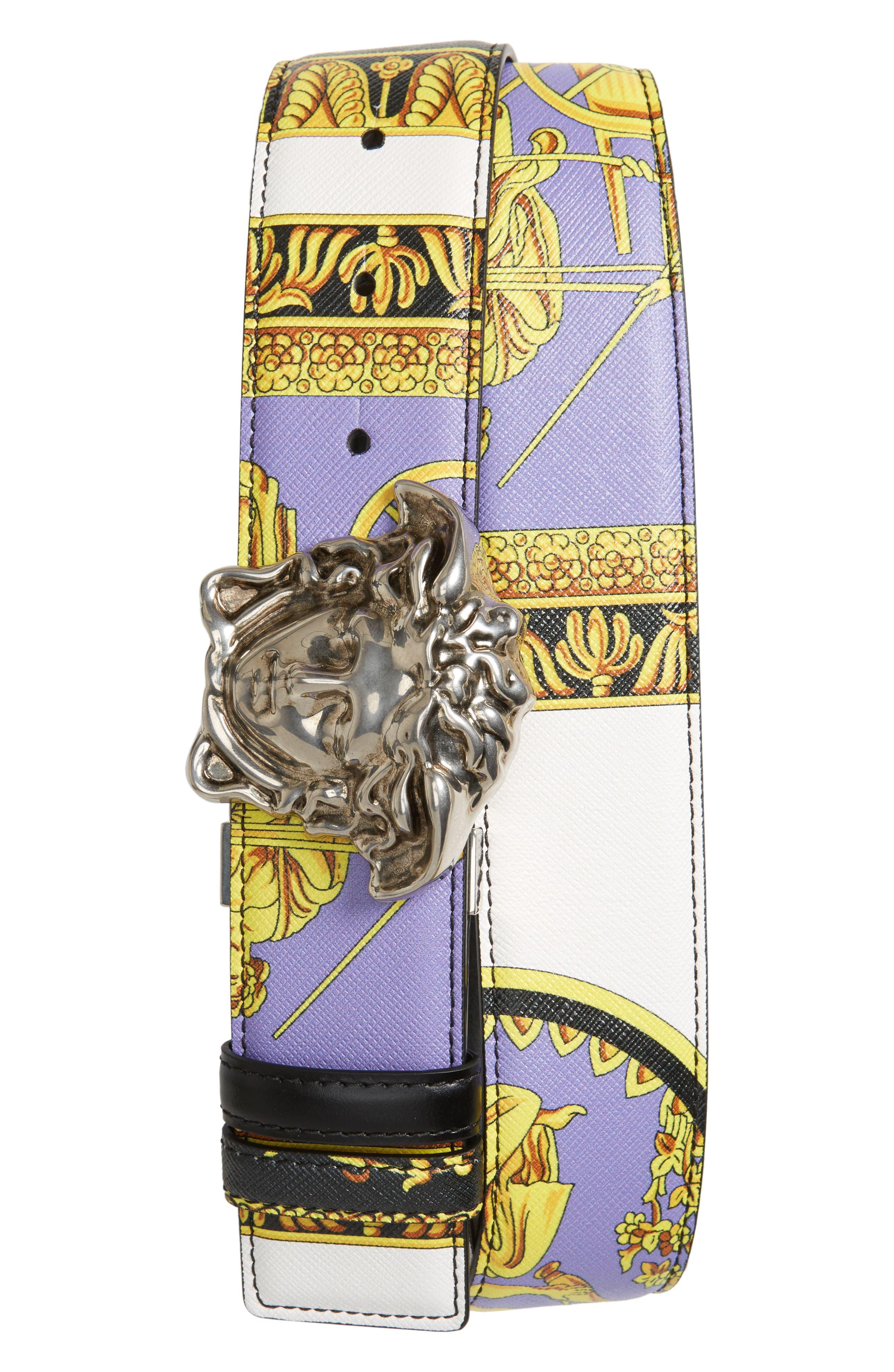 Baroque Print Reversible Leather Belt,                             Main thumbnail 1, color,                             001