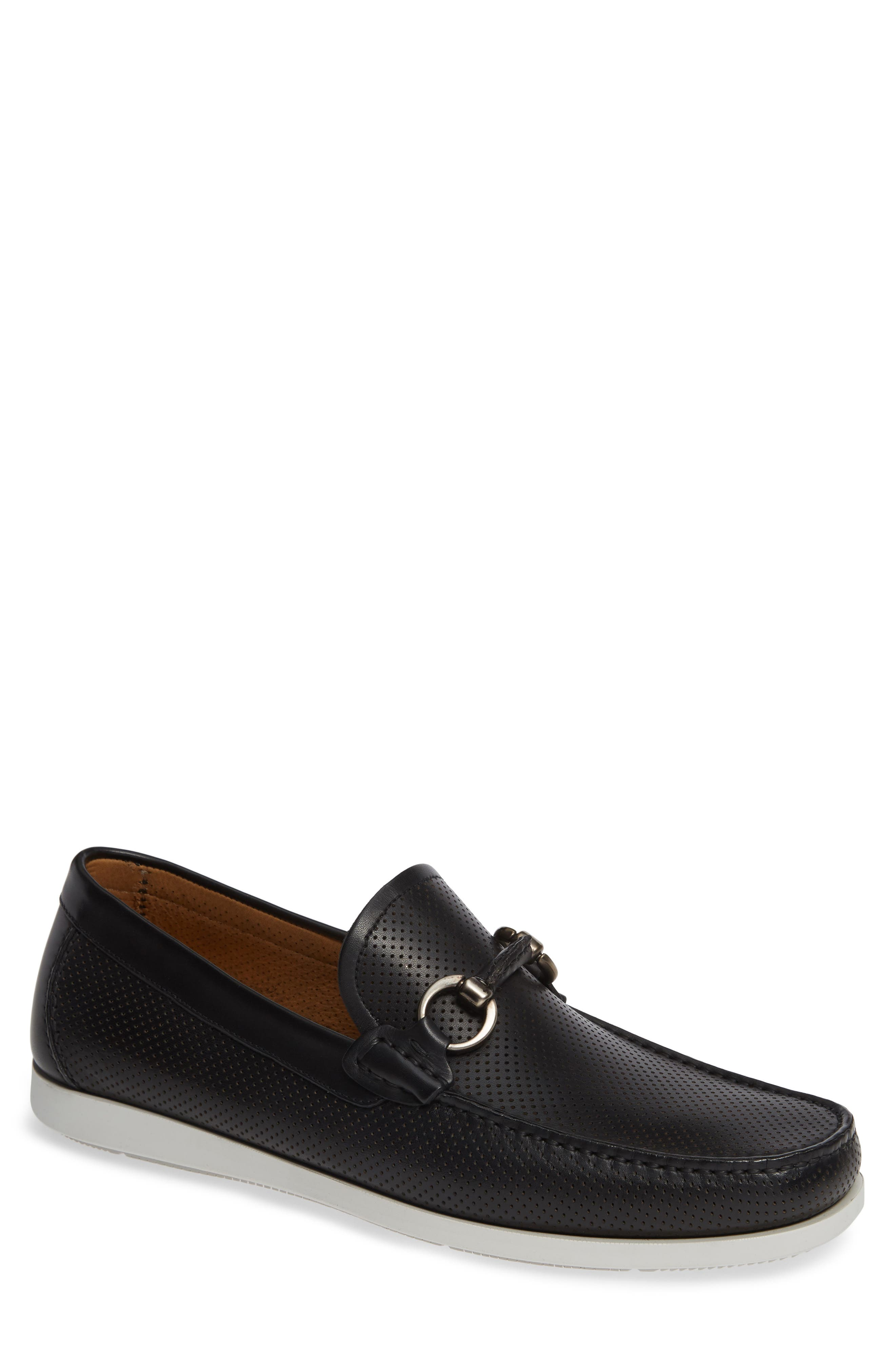 Beasley Perforated Moc Toe Bit Loafer,                             Main thumbnail 1, color,                             BLACK LEATHER