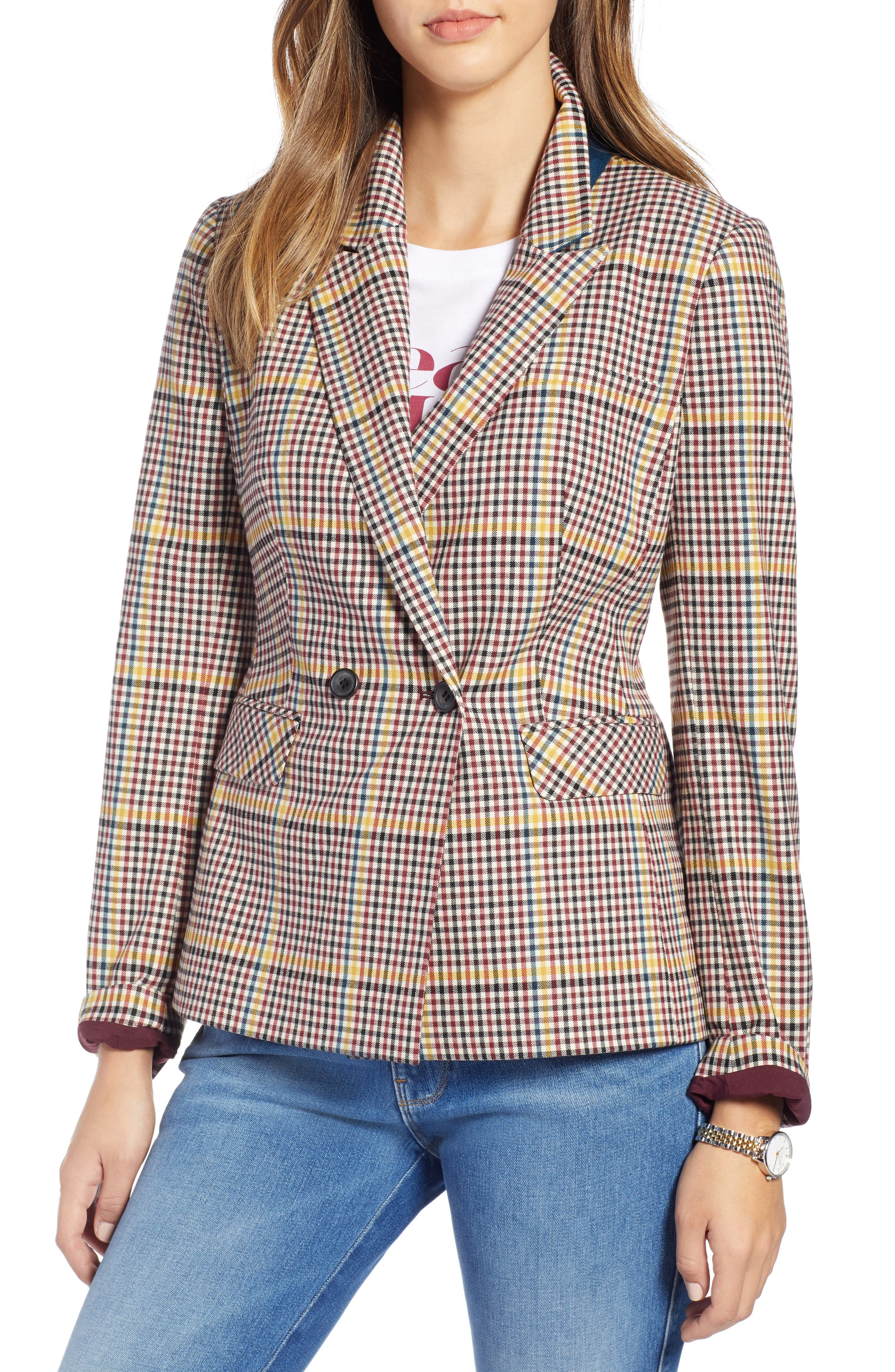 Double Breasted Plaid Blazer,                             Alternate thumbnail 4, color,                             RED R- BEIGE PLAID