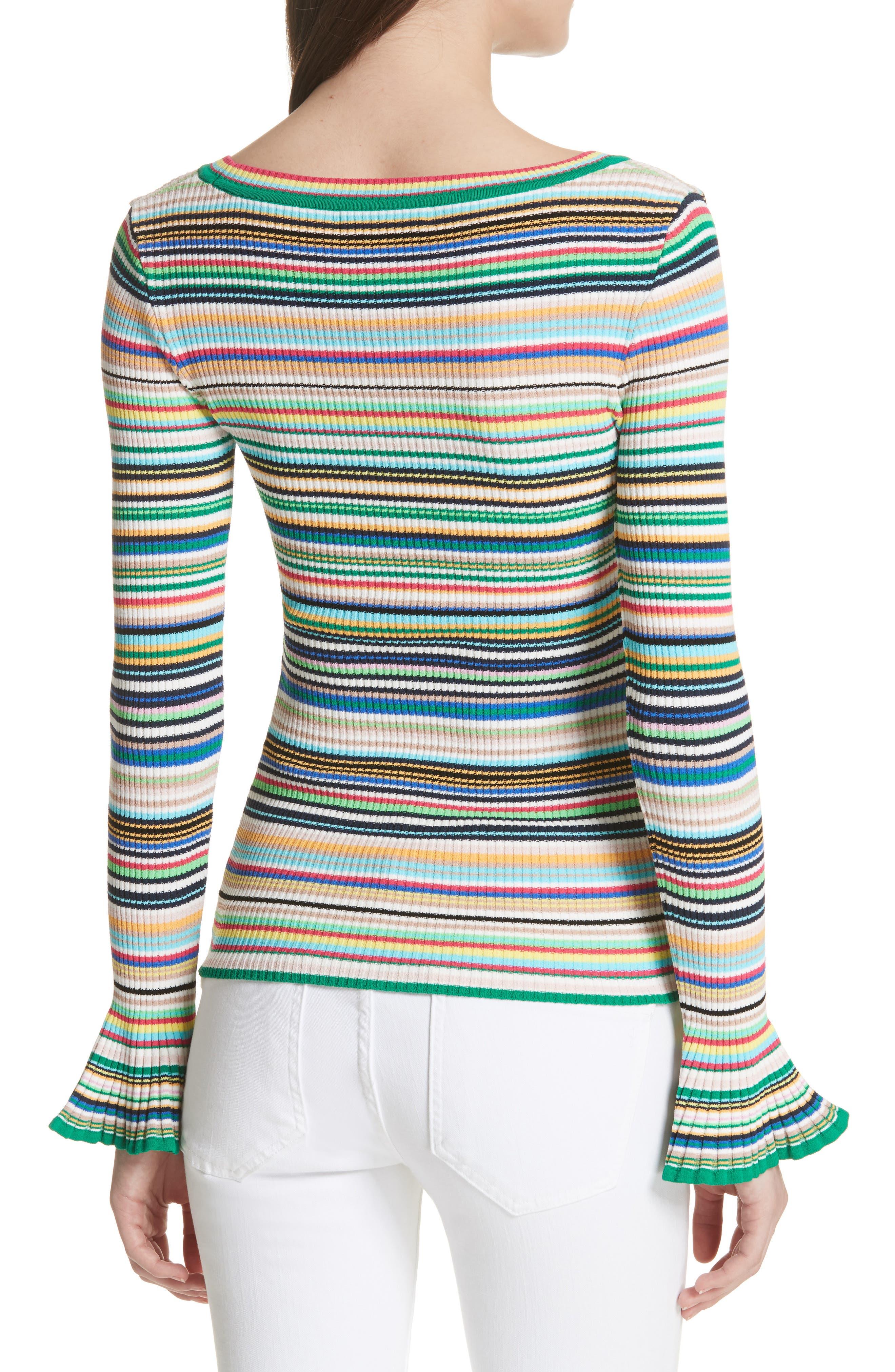 Microstripe Flare Sleeve Pullover,                             Alternate thumbnail 2, color,                             167