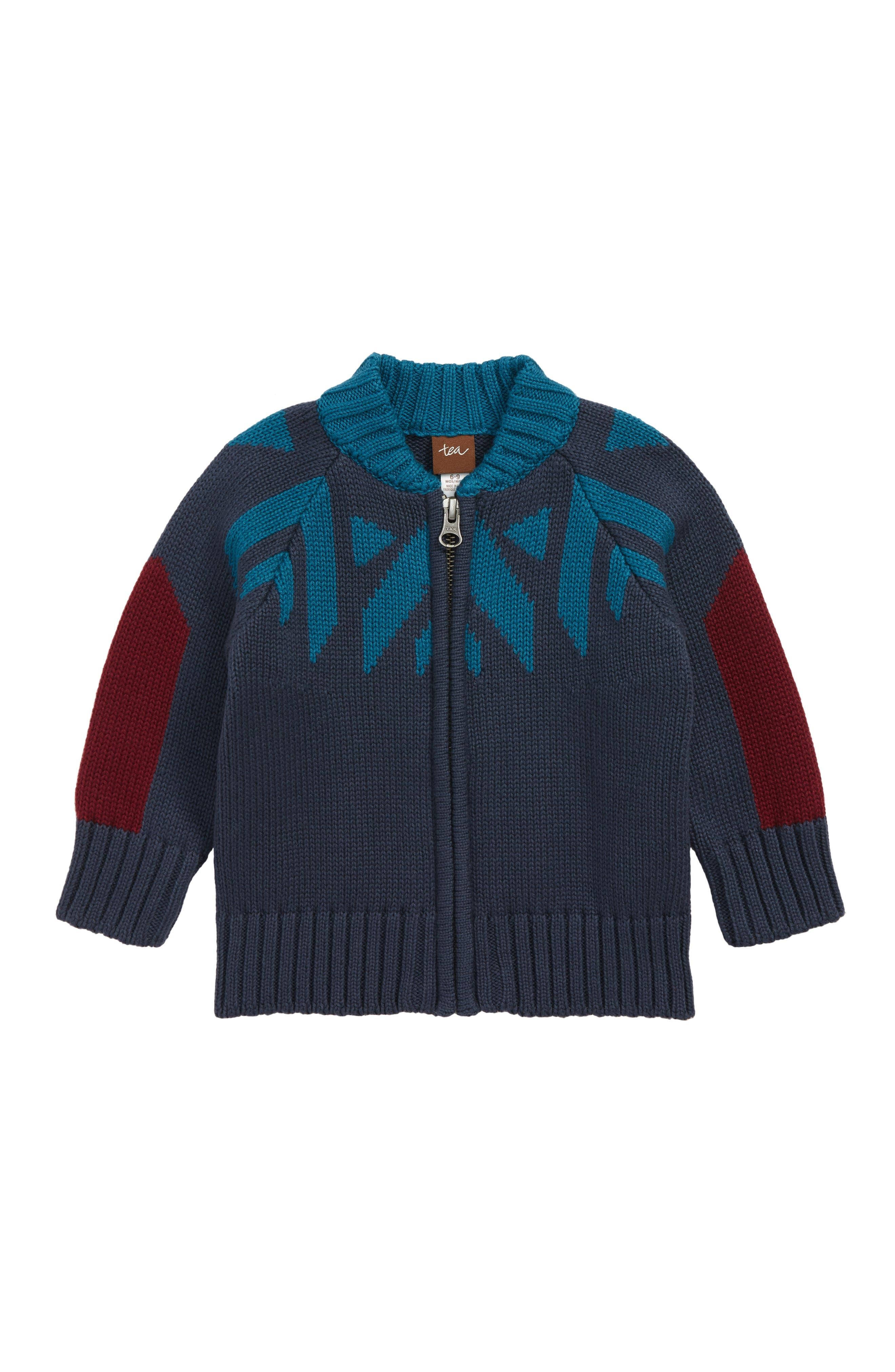 Infant Boys Tea Collection Denali Zip Cardigan Size 1824M  Blue