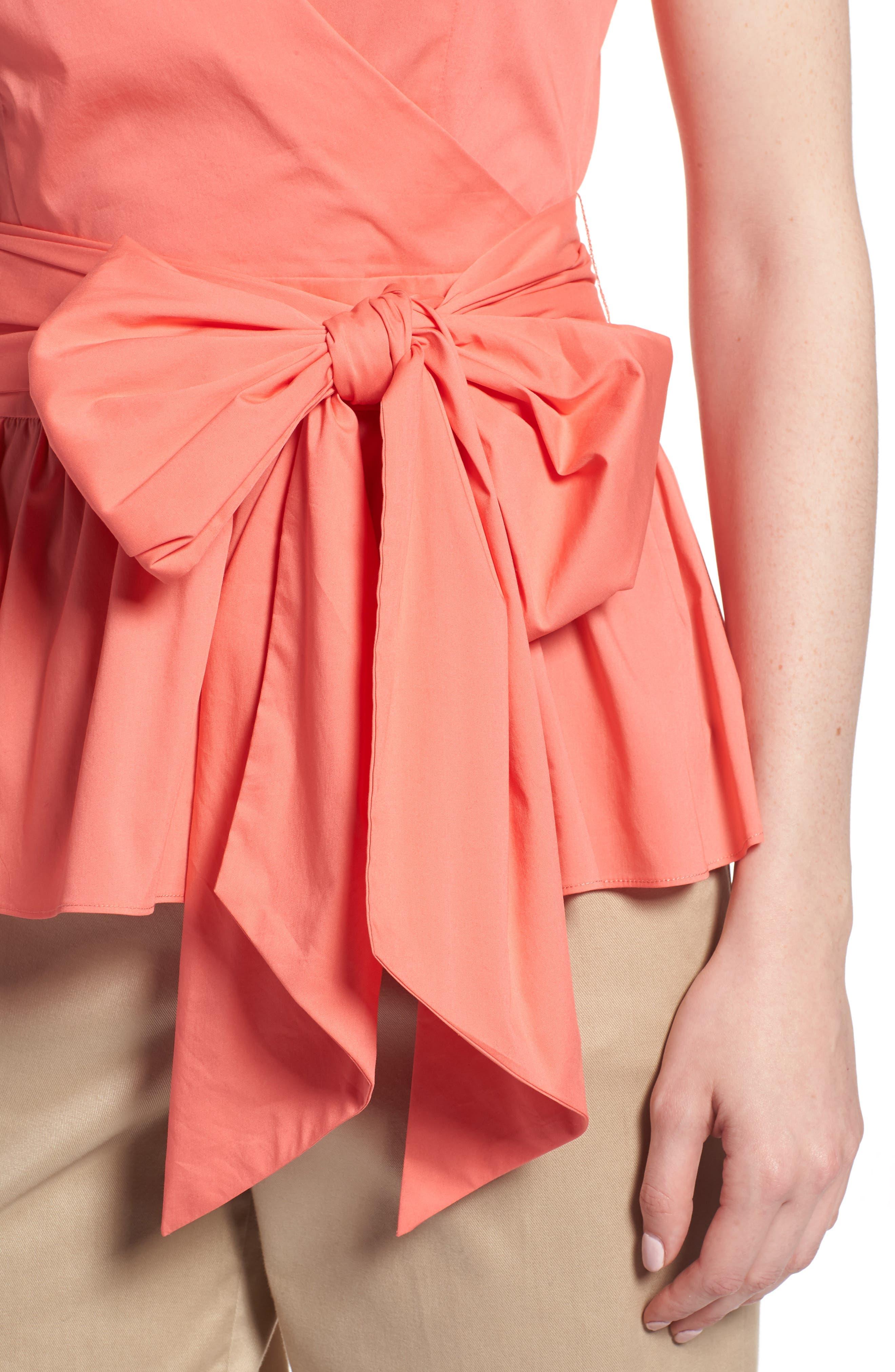 Cotton Blend Wrap Blouse,                             Alternate thumbnail 17, color,