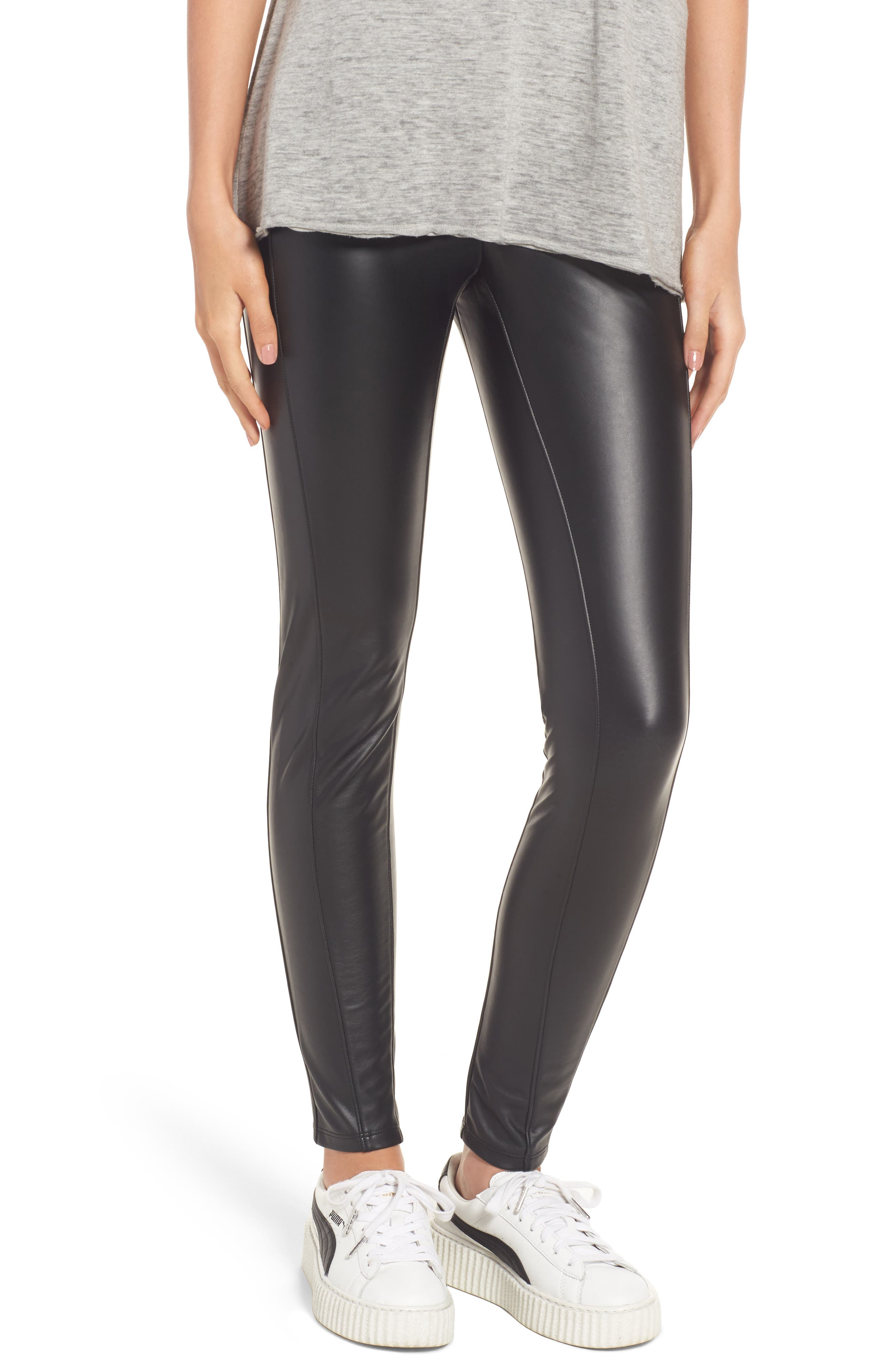 Bryce High Waist Faux Leather Leggings,                         Main,                         color, 001