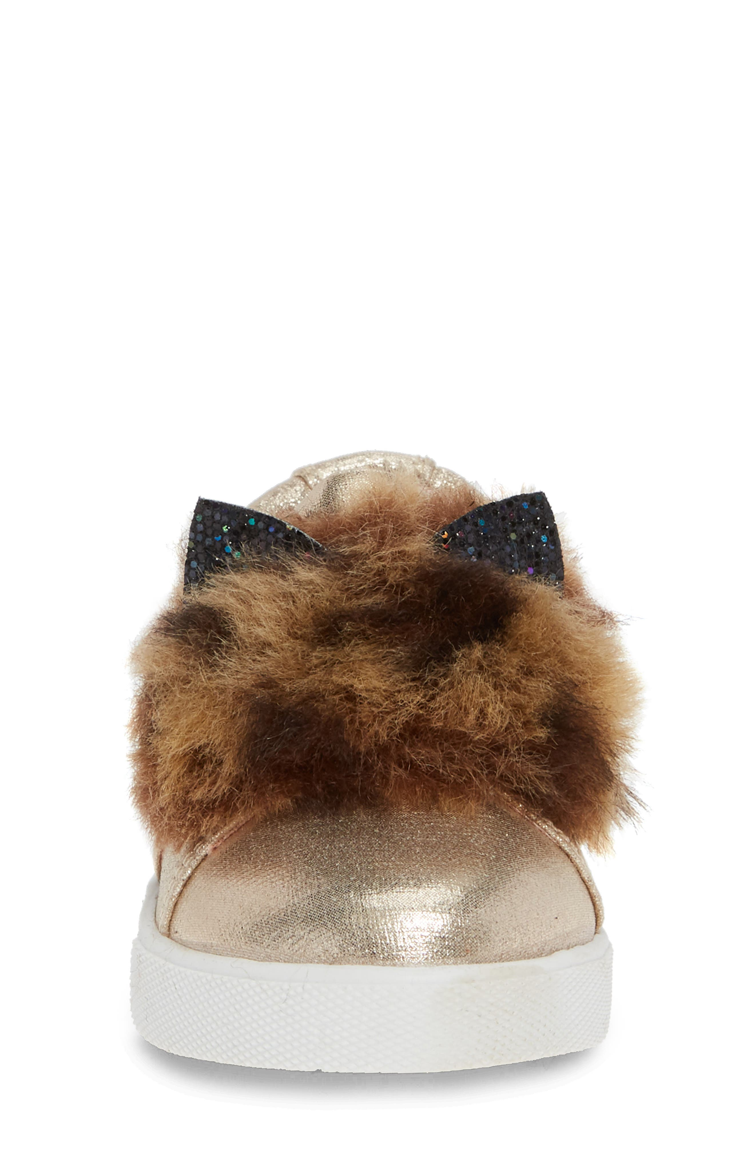 Faux Fur Slip-On Metallic Sneaker,                             Alternate thumbnail 4, color,                             GOLDEN METALLIC