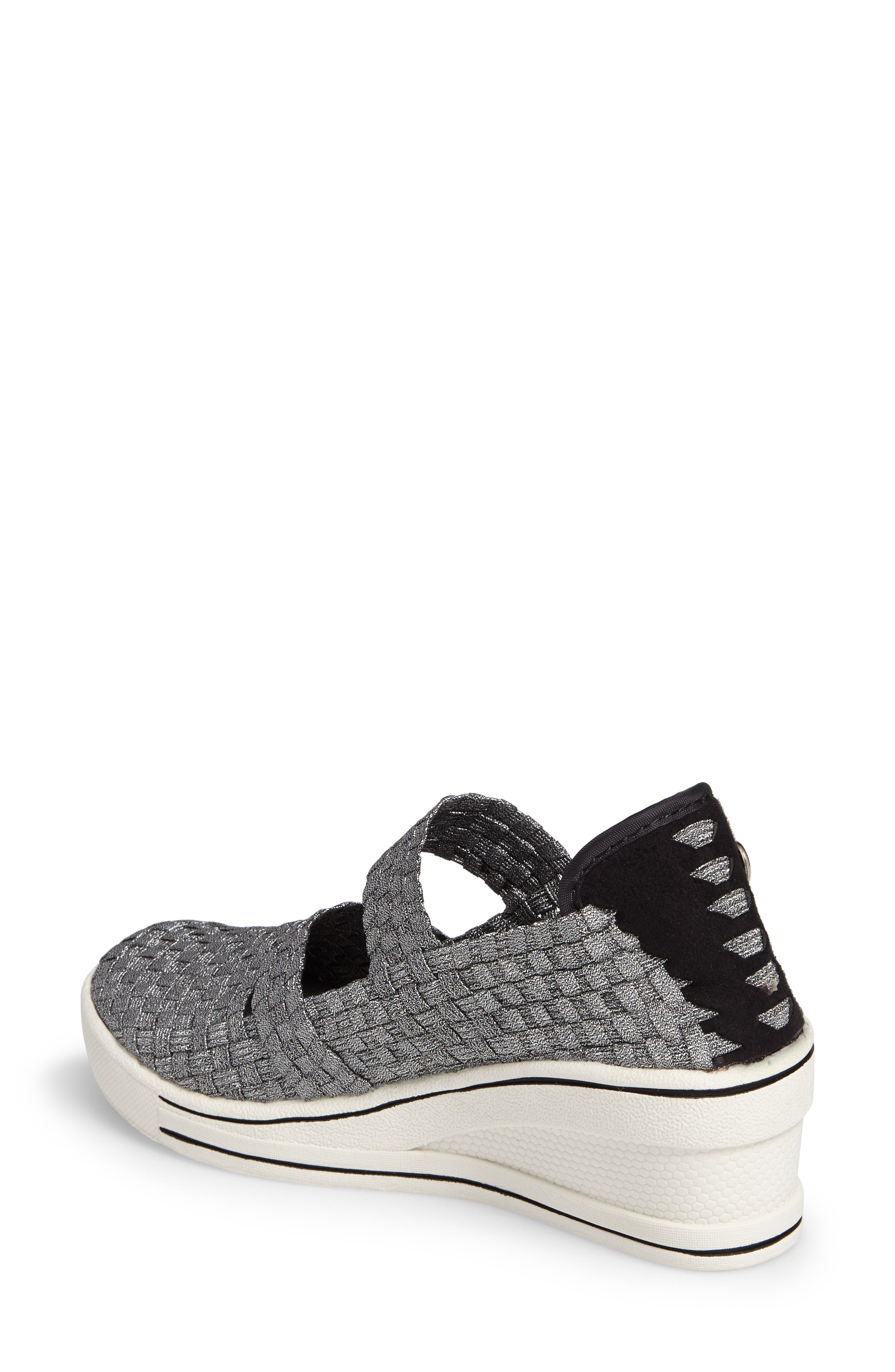 Frontier Woven Mary Jane Wedge,                             Alternate thumbnail 2, color,                             PEWTER FABRIC