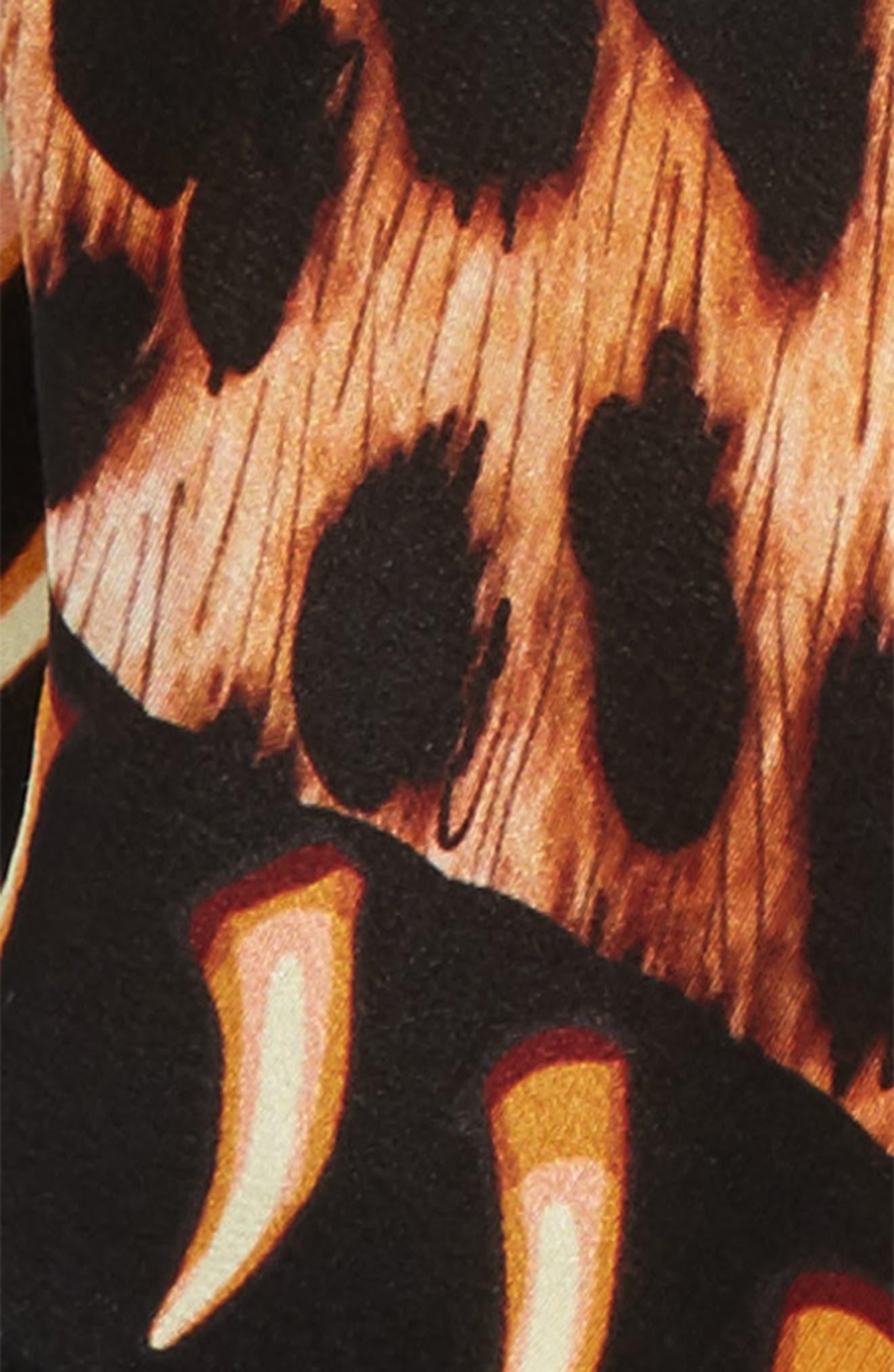 Leopard Teeth Skinny Silk Scarf,                             Alternate thumbnail 3, color,