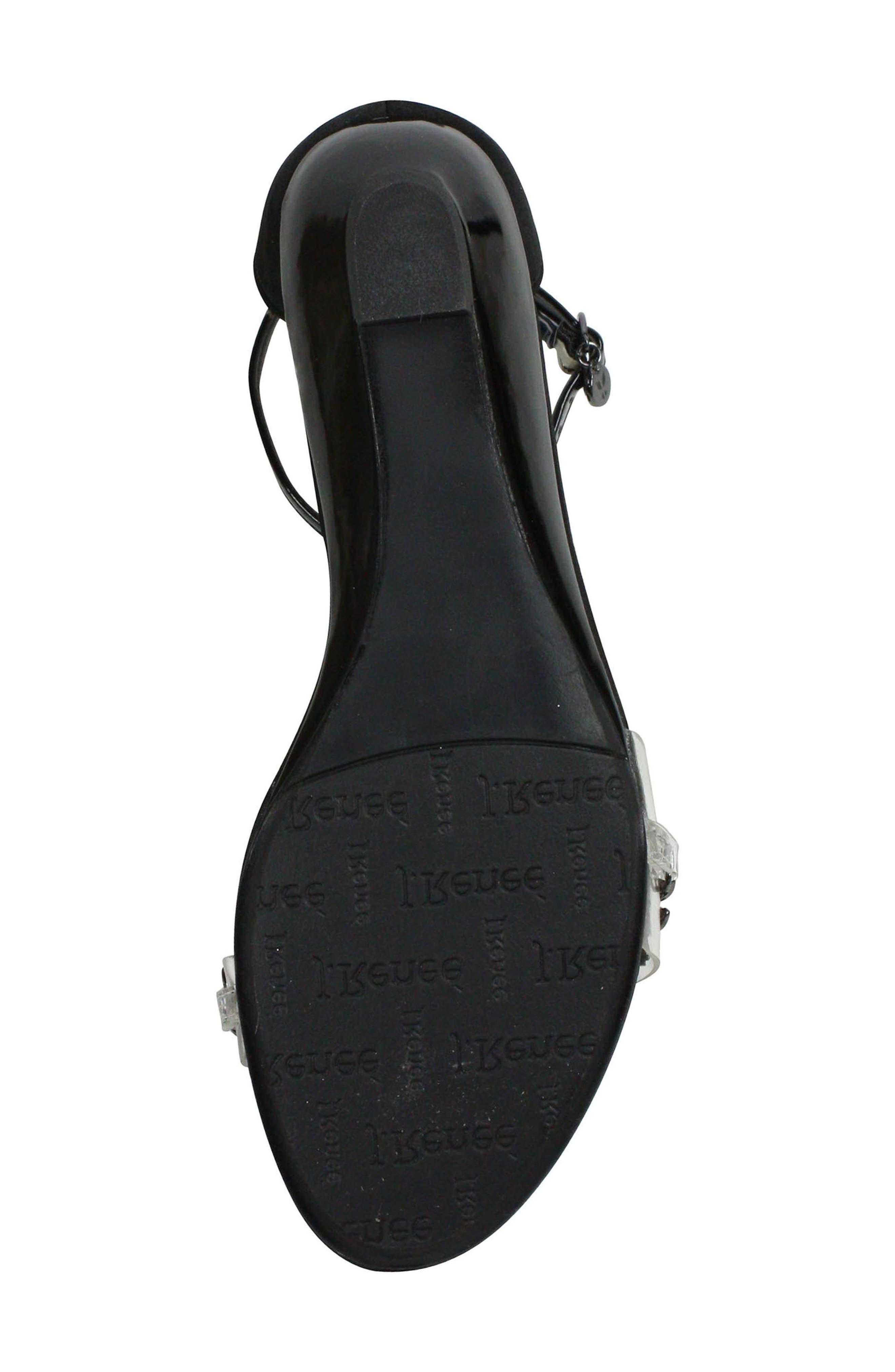 Evania Ankle Strap Sandal,                             Alternate thumbnail 6, color,                             BLACK SATIN