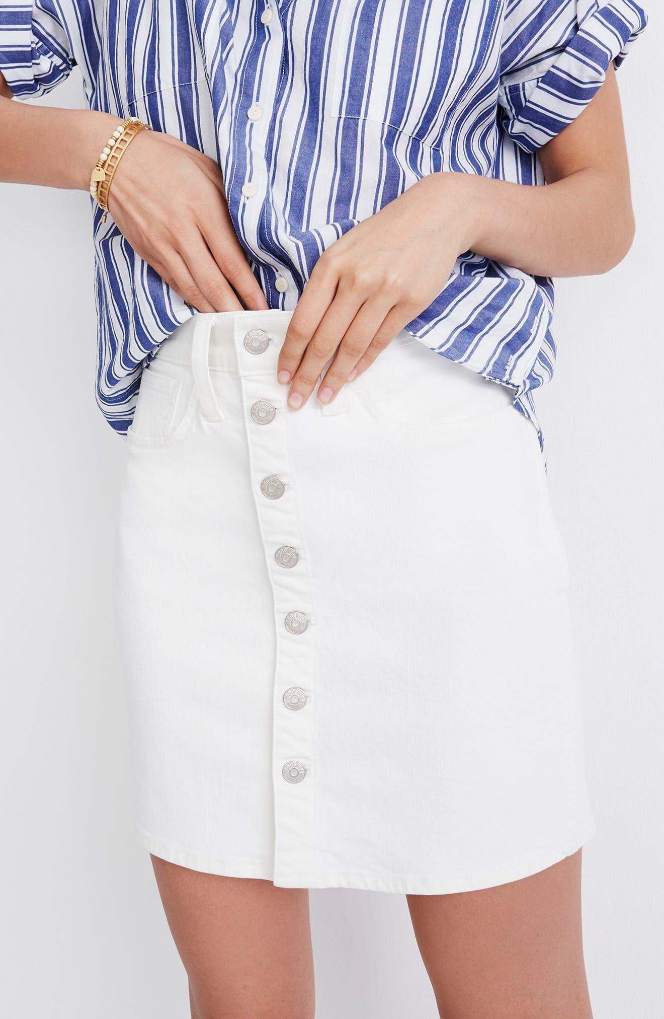 Button Front Straight Denim Skirt,                             Alternate thumbnail 4, color,