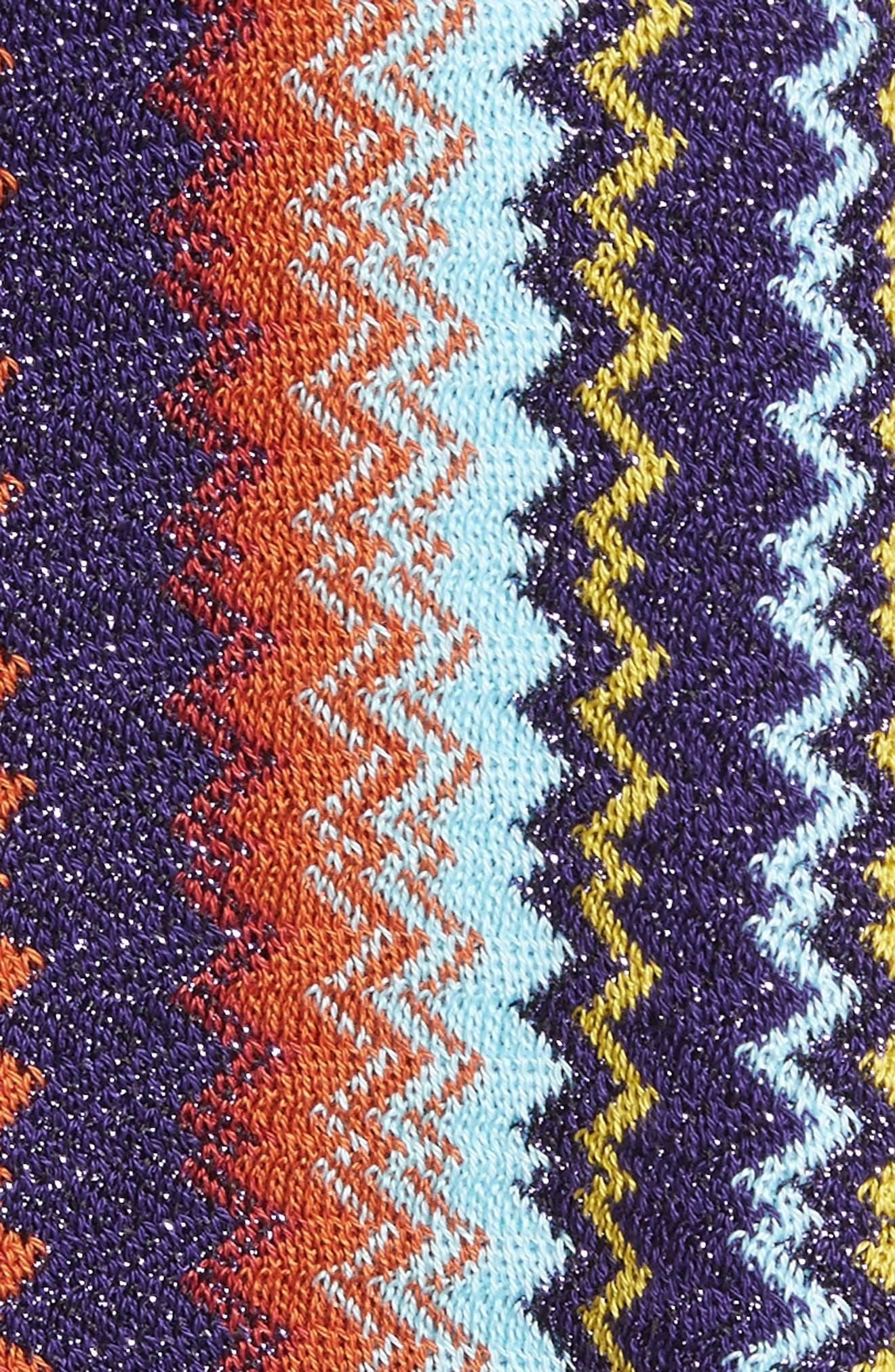 Fringe Zigzag Crop Poncho,                             Alternate thumbnail 5, color,                             PURPLE/ LIME
