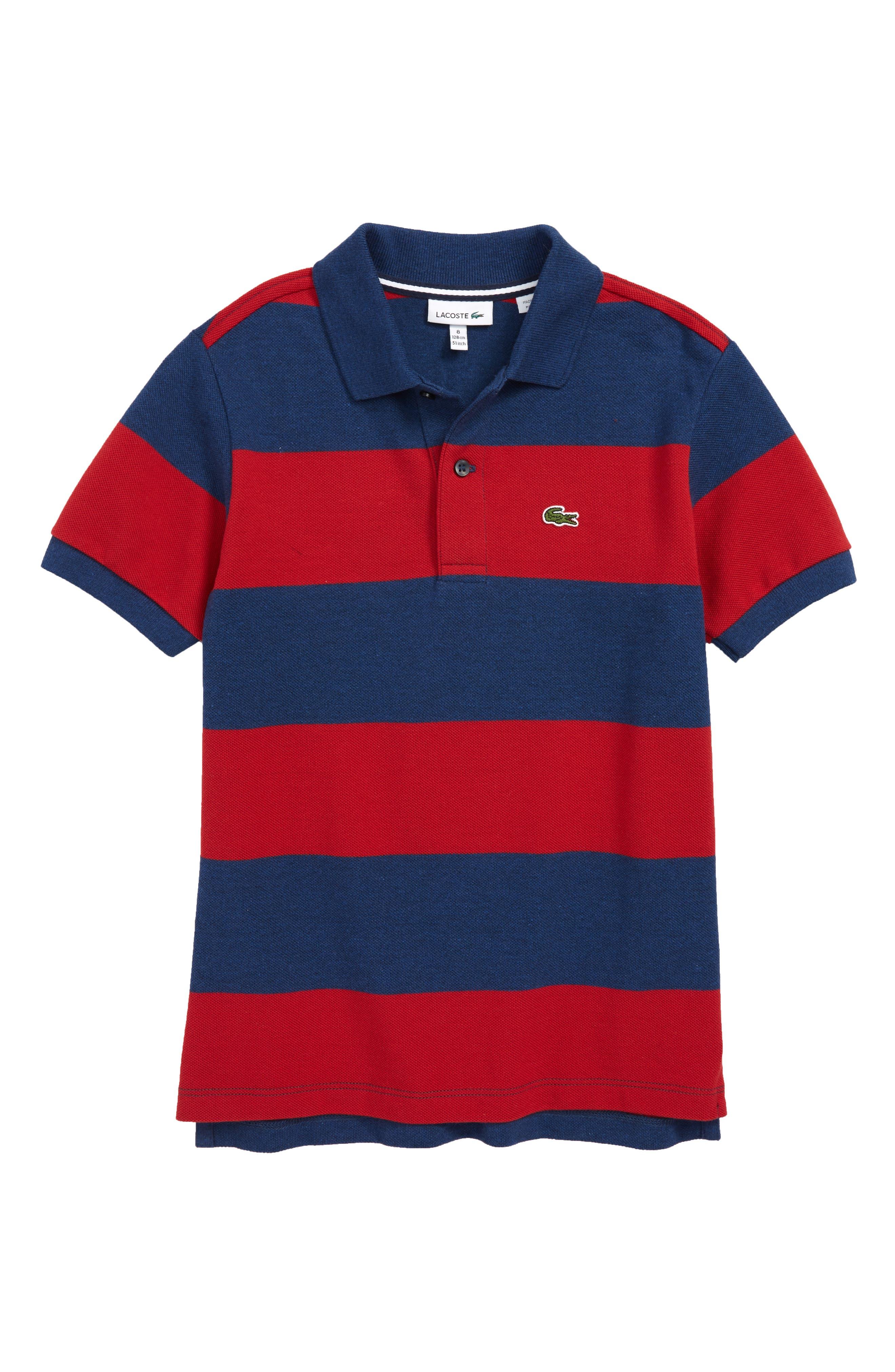 Bicolor Stripe Piqué Polo,                         Main,                         color, LIGHTHOUSE RED