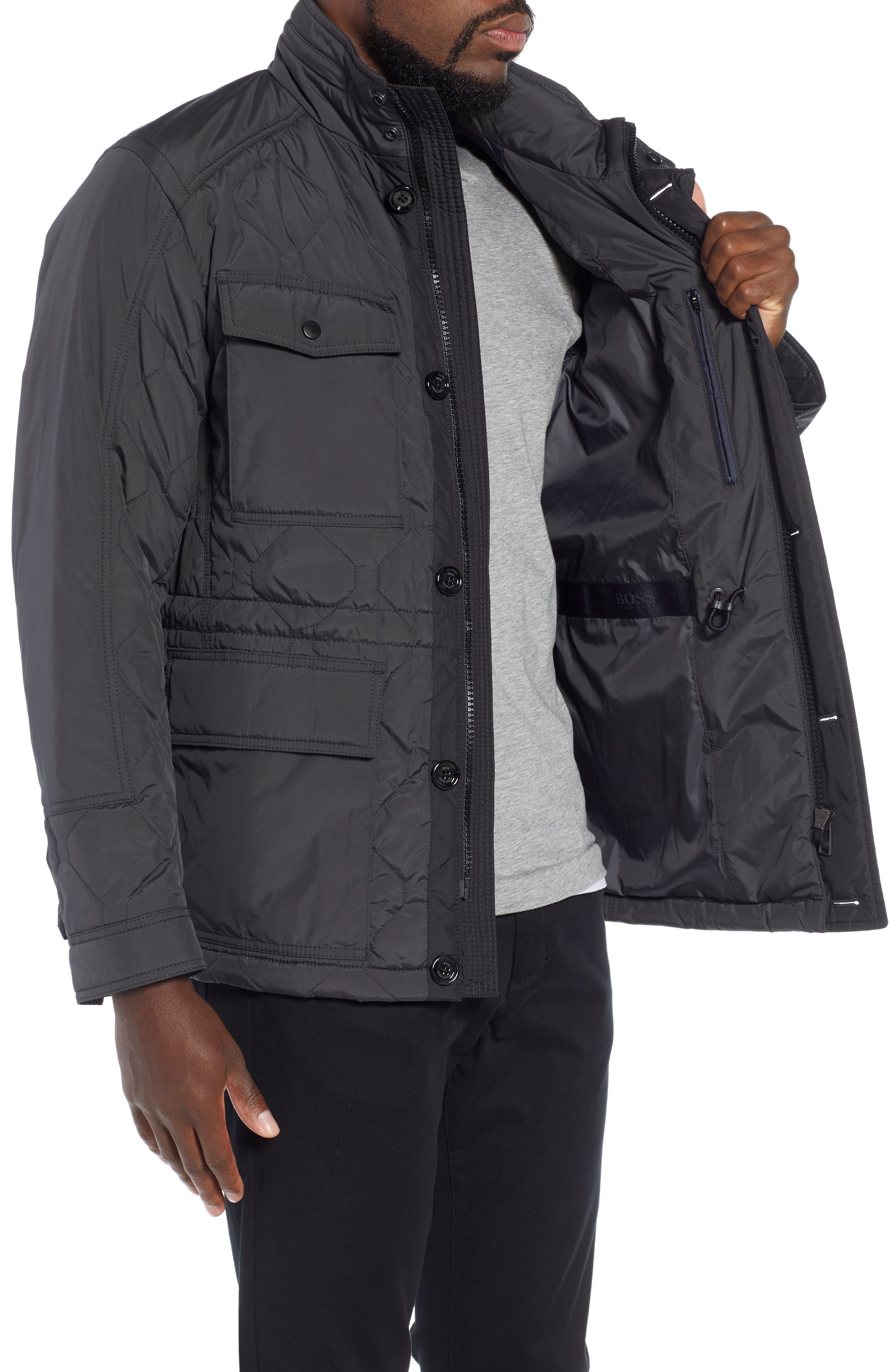 Cloud Quilted Field Jacket with Stowaway Hood,                             Alternate thumbnail 3, color,                             GREY