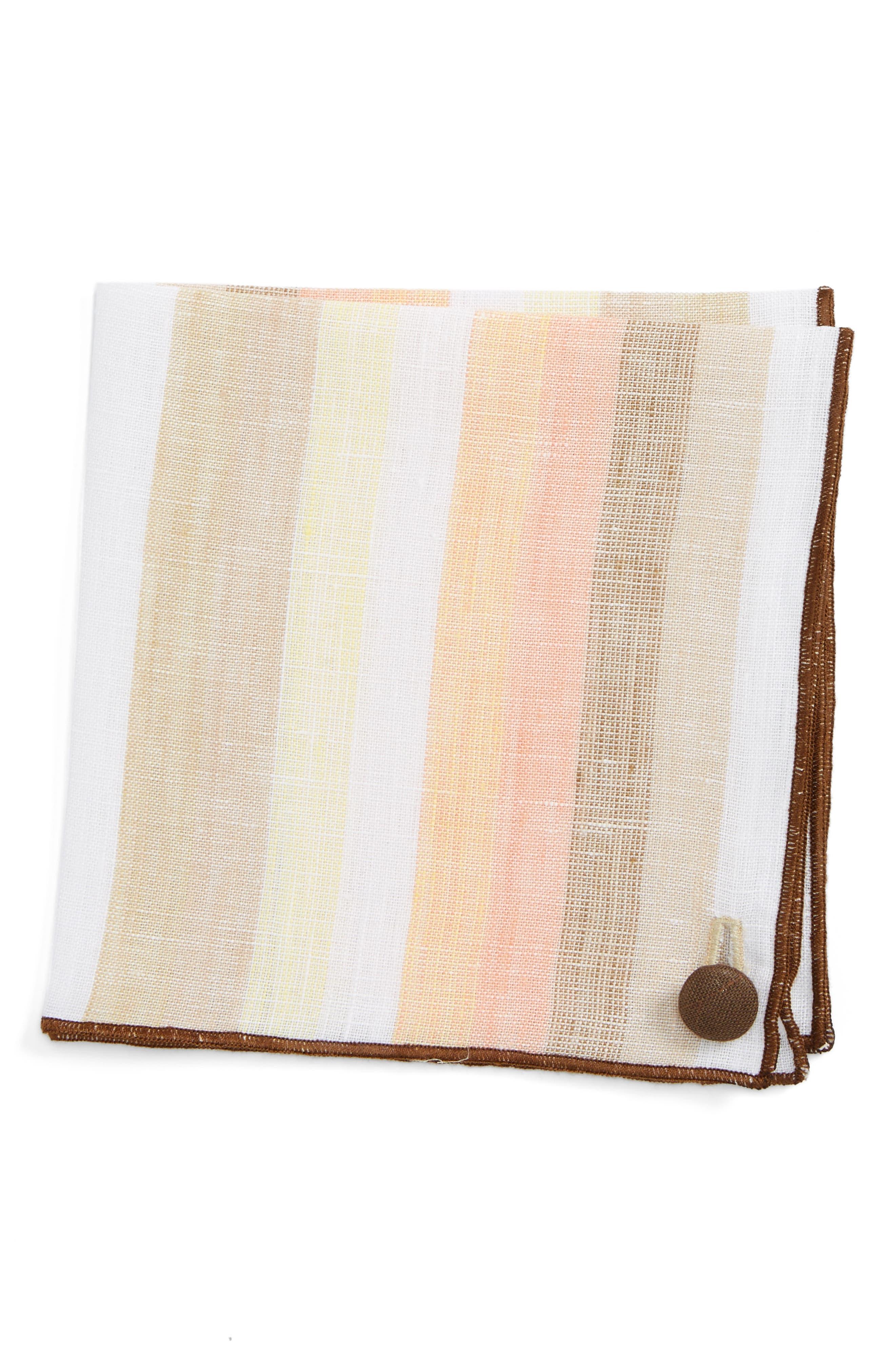Peach Cake Linen Pocket Square,                         Main,                         color, 800