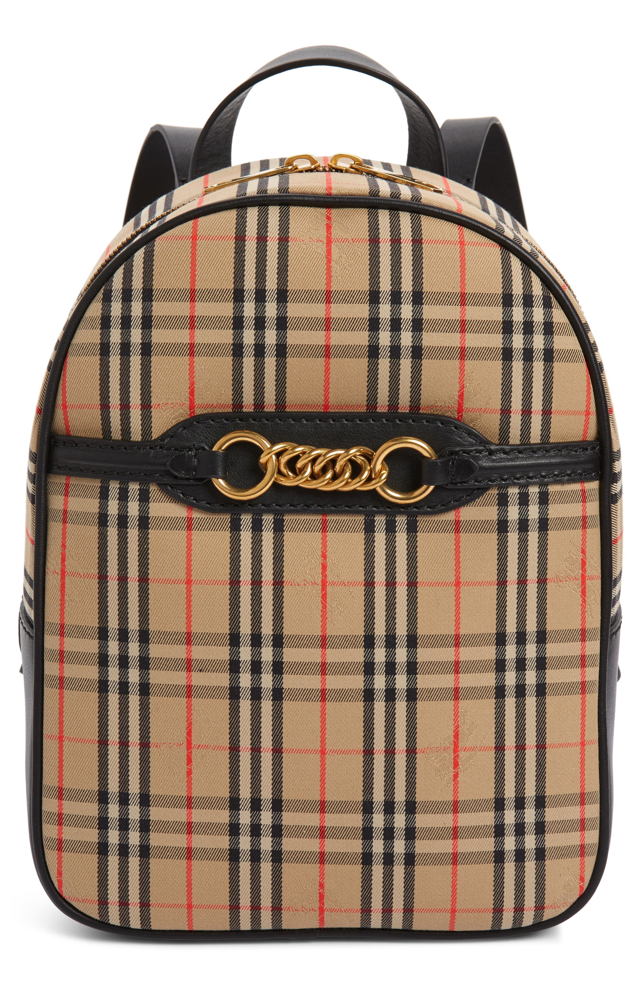 Link Vintage Check Canvas Backpack,                         Main,                         color, ANTIQUE YELLOW/ BLACK