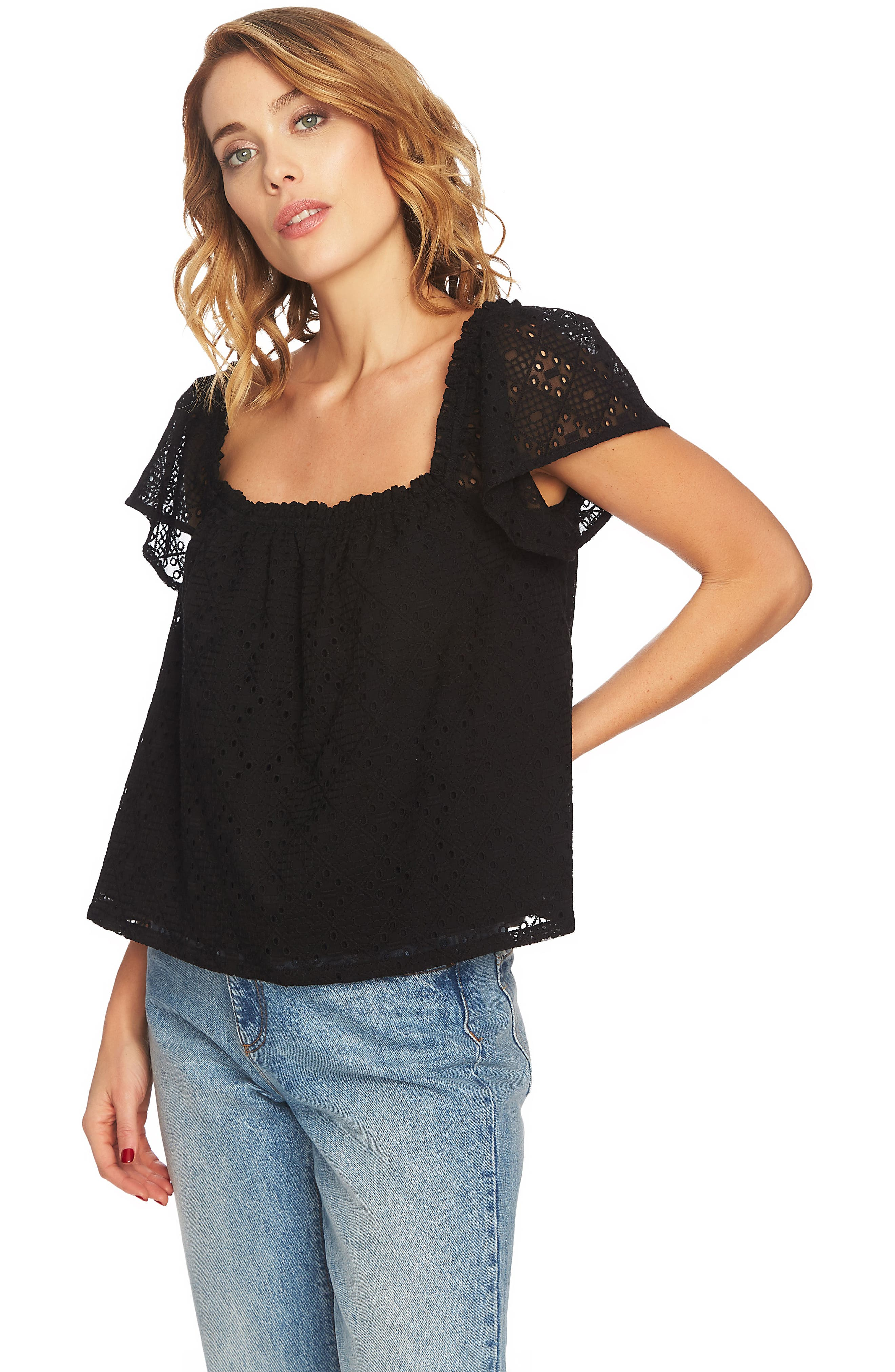 Embroidered Blouse,                             Alternate thumbnail 3, color,                             RICH BLACK