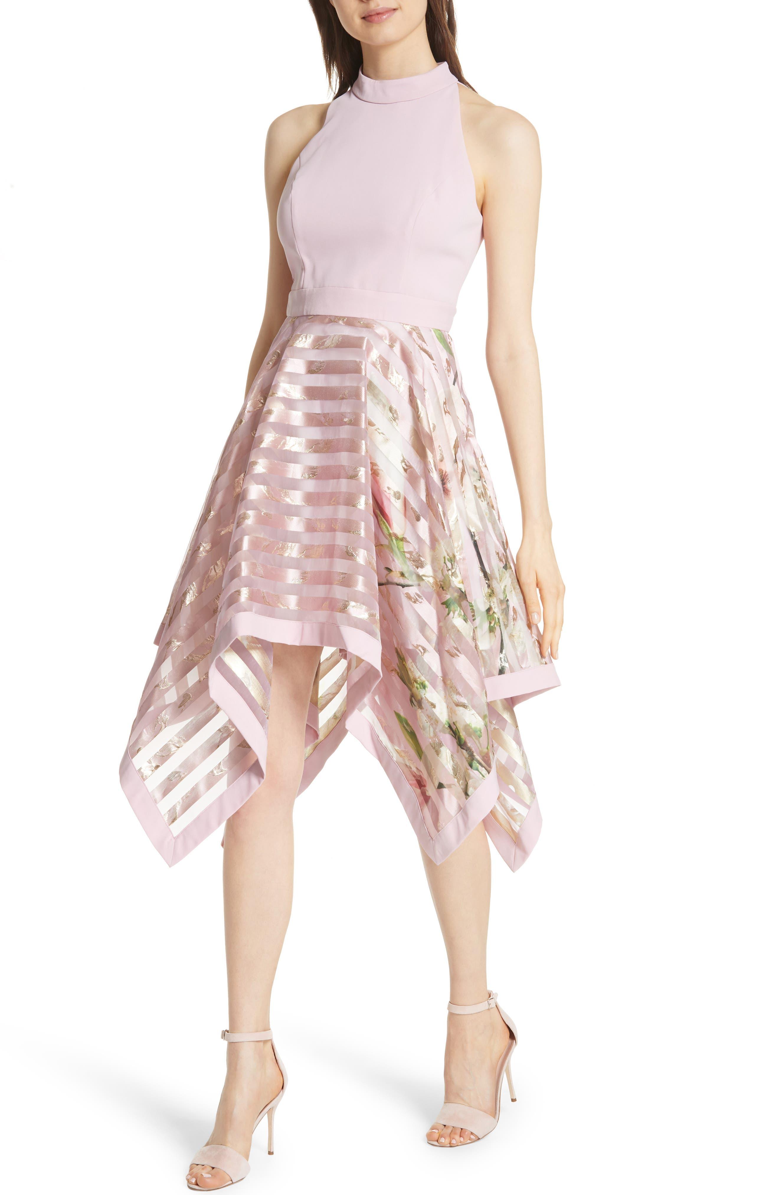 Harmony Burnout Metallic Stripe Dress,                             Alternate thumbnail 4, color,                             PALE PINK