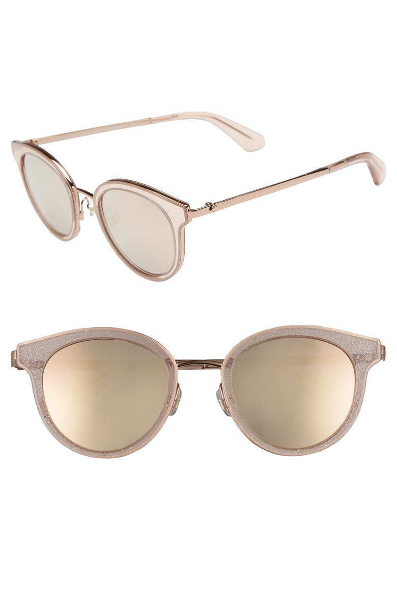 Kate Spade LISANNE 50MM SPECIAL FIT ROUND SUNGLASSES - PINK GLITTER