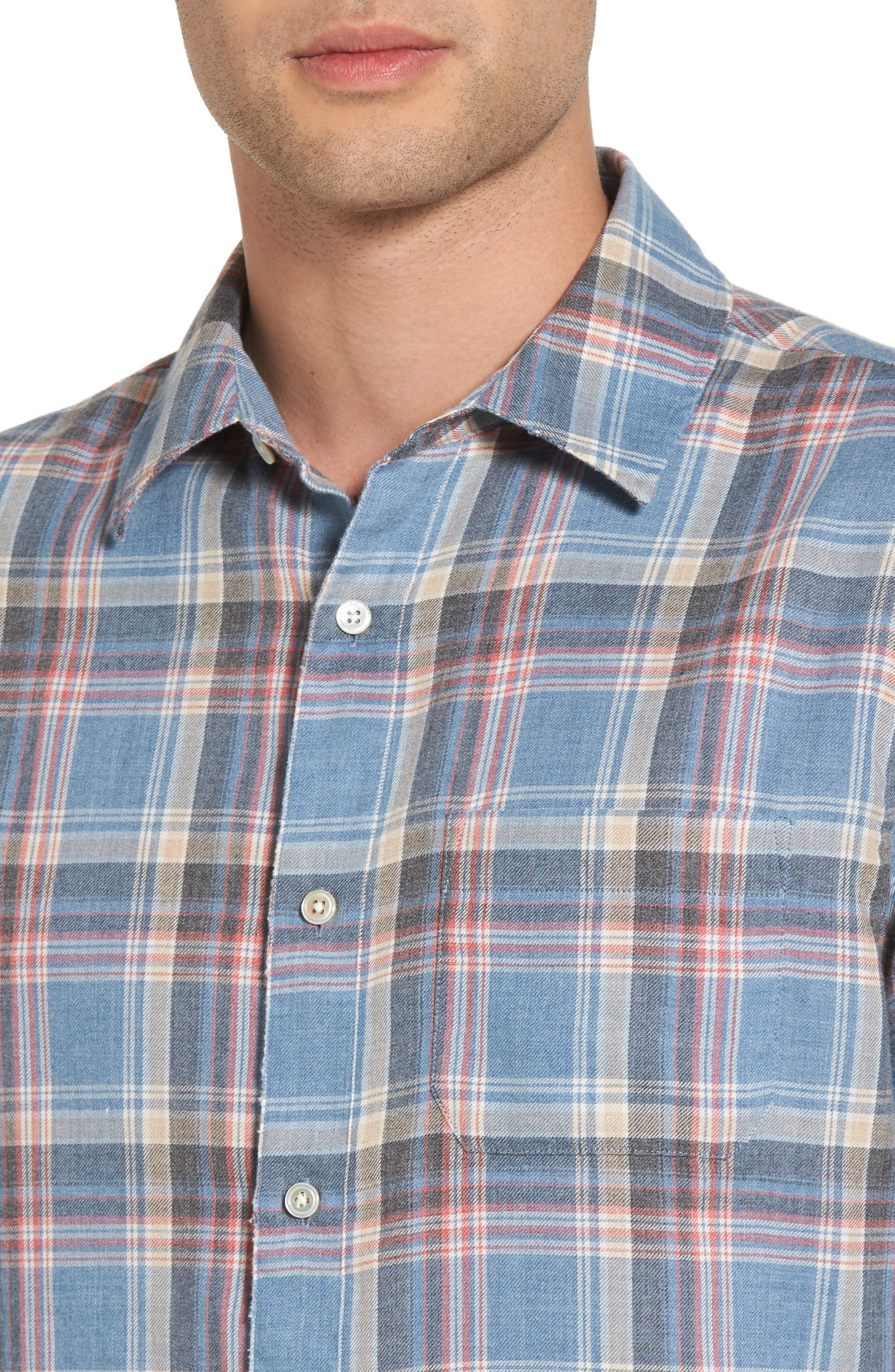 Fray Hem Plaid Flannel Shirt,                             Alternate thumbnail 4, color,                             401