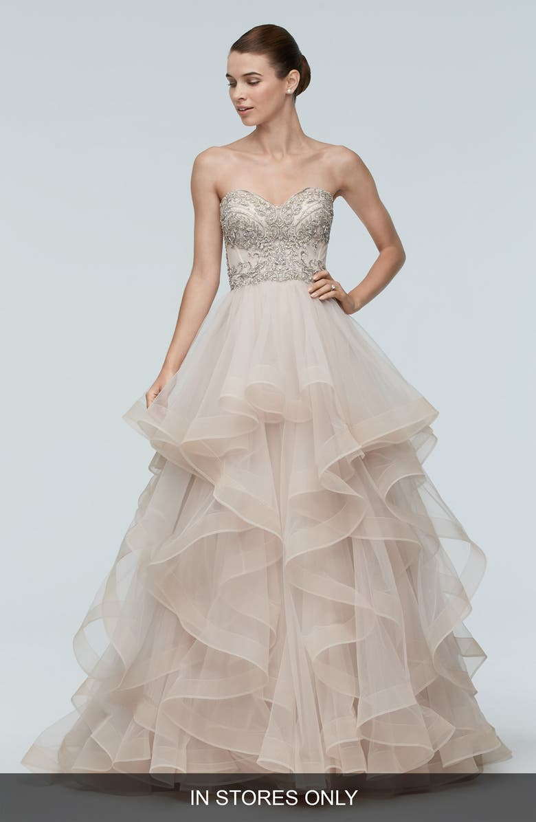 Meri Embellished Strapless Layered Tulle Gown Main