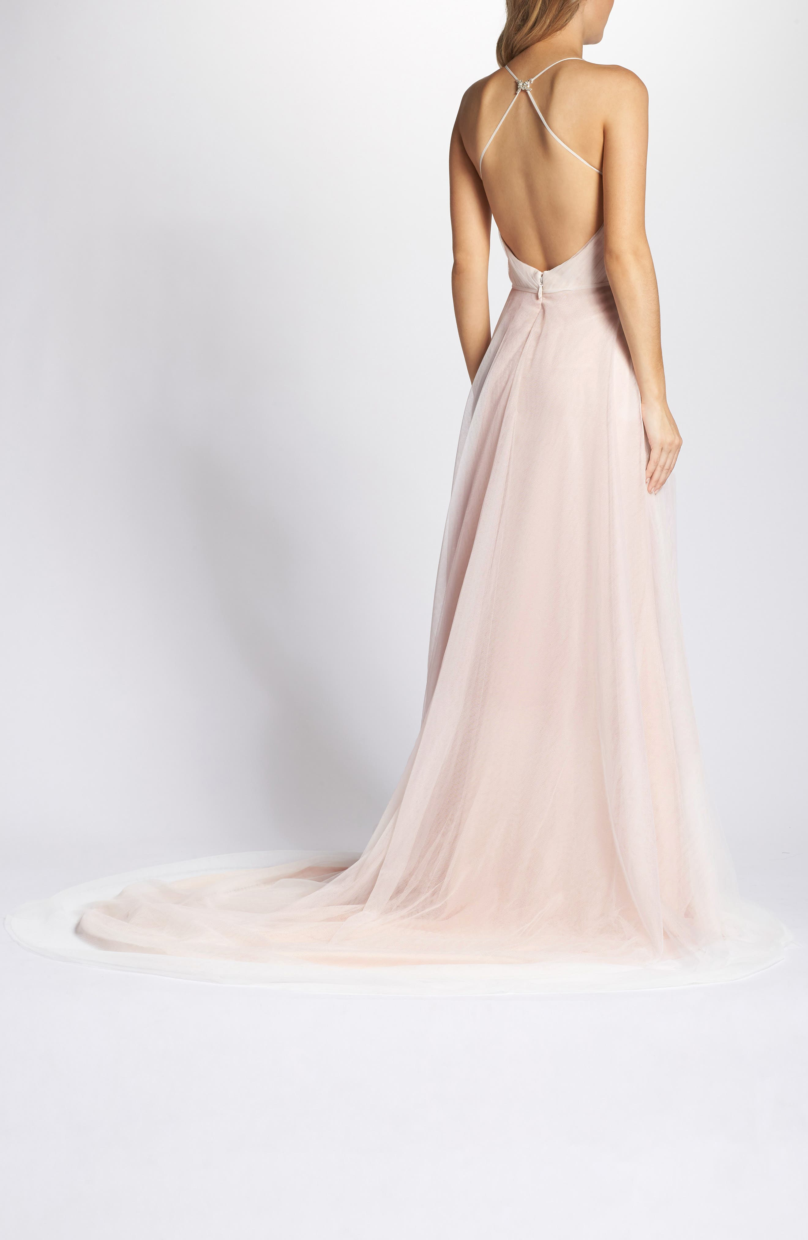Plunging A-Line Gown,                             Alternate thumbnail 2, color,                             IVORY/TEA ROSE