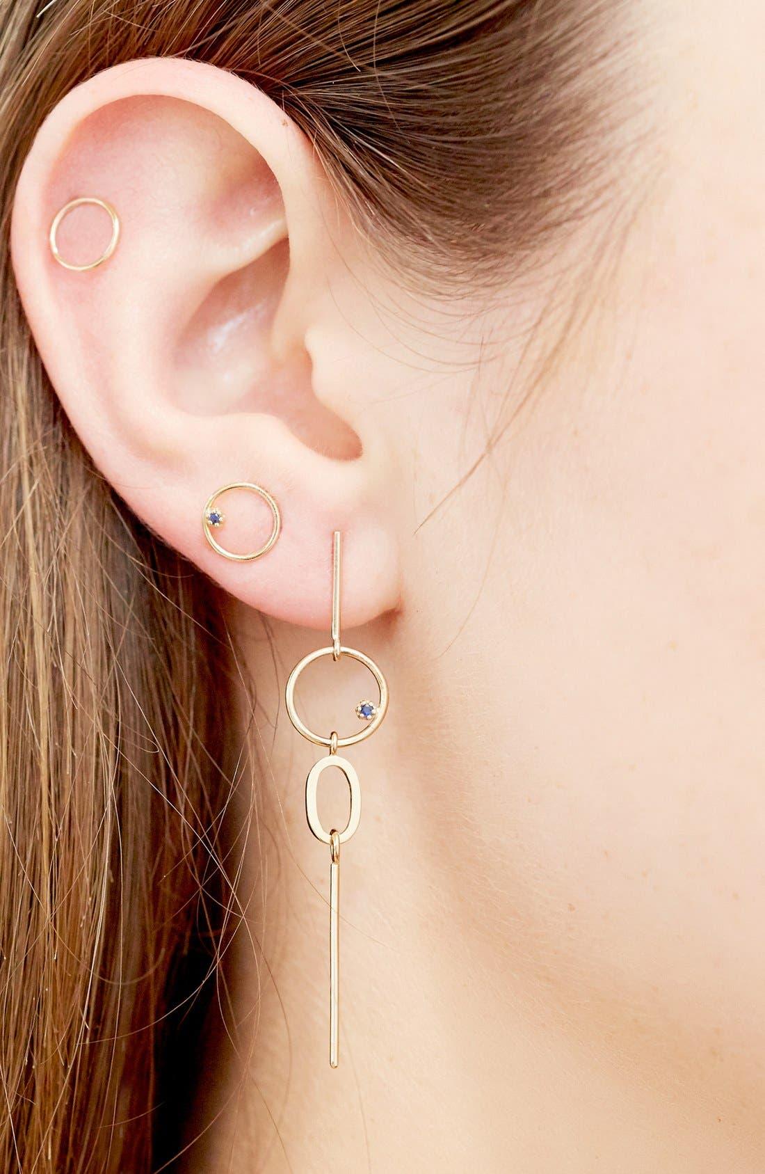 'Long Bubble' Gold & Sapphire Statement Earring,                             Alternate thumbnail 2, color,                             710