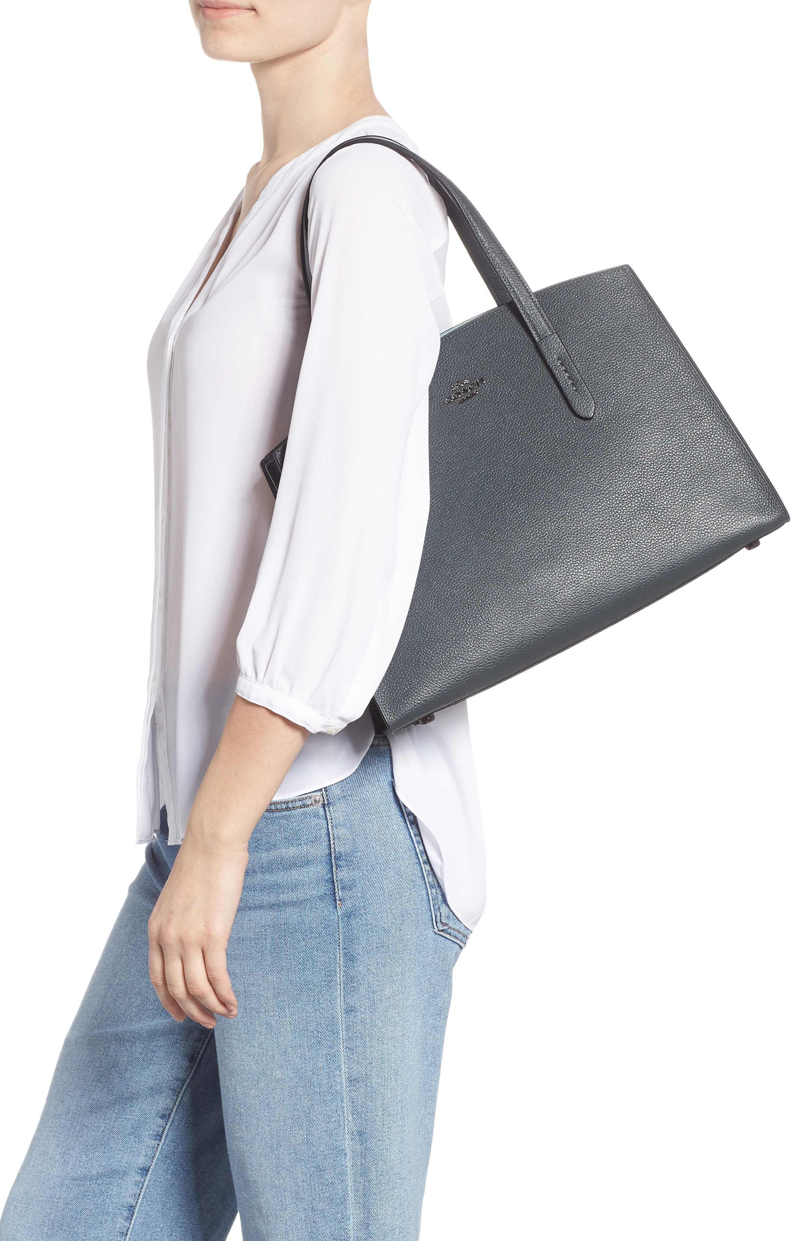Charlie Leather Tote,                             Alternate thumbnail 2, color,                             CYPRESS