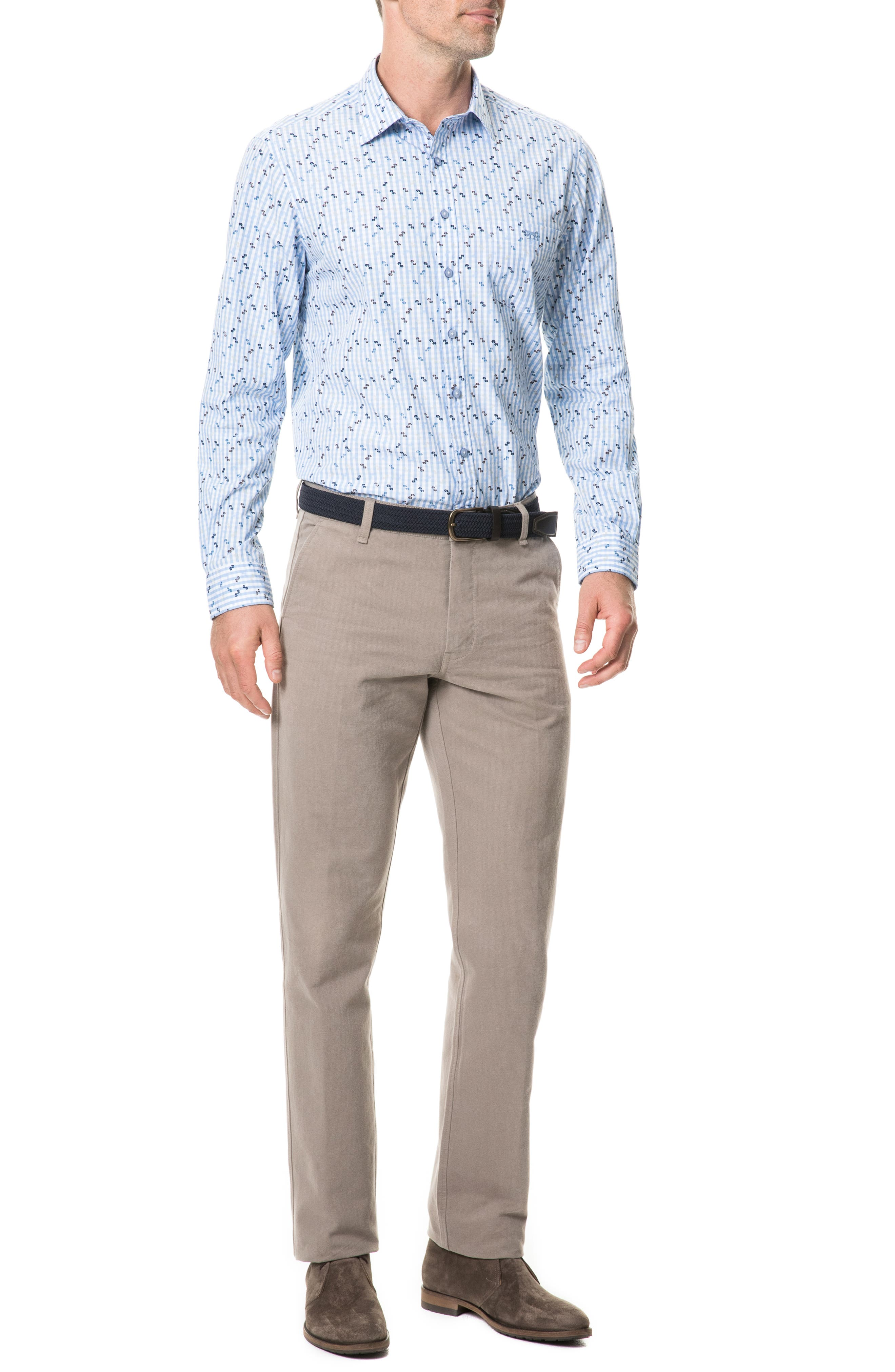 Mitchies Crossing Regular Fit Spotted Gingham Sport Shirt,                             Alternate thumbnail 4, color,                             PEACOAT