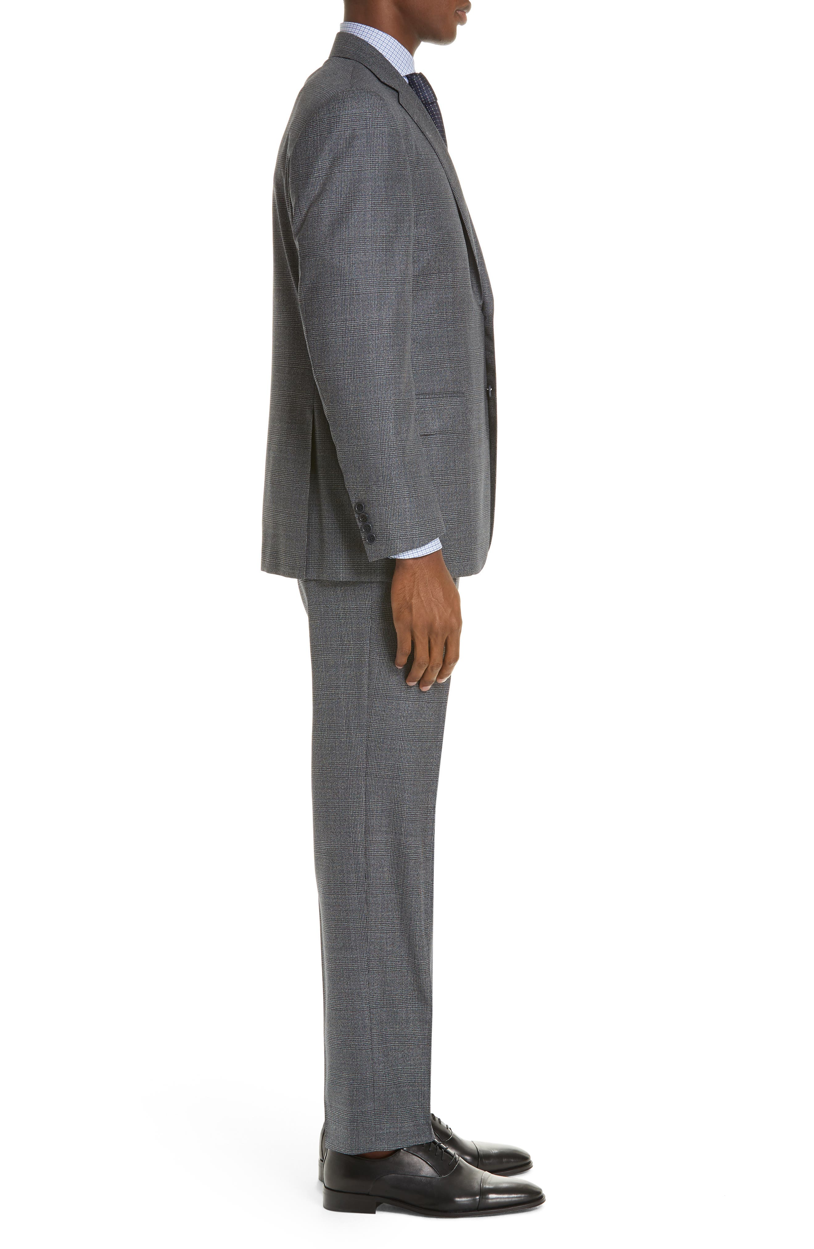 Classic Fit Plaid Wool Suit,                             Alternate thumbnail 3, color,                             MED GREY