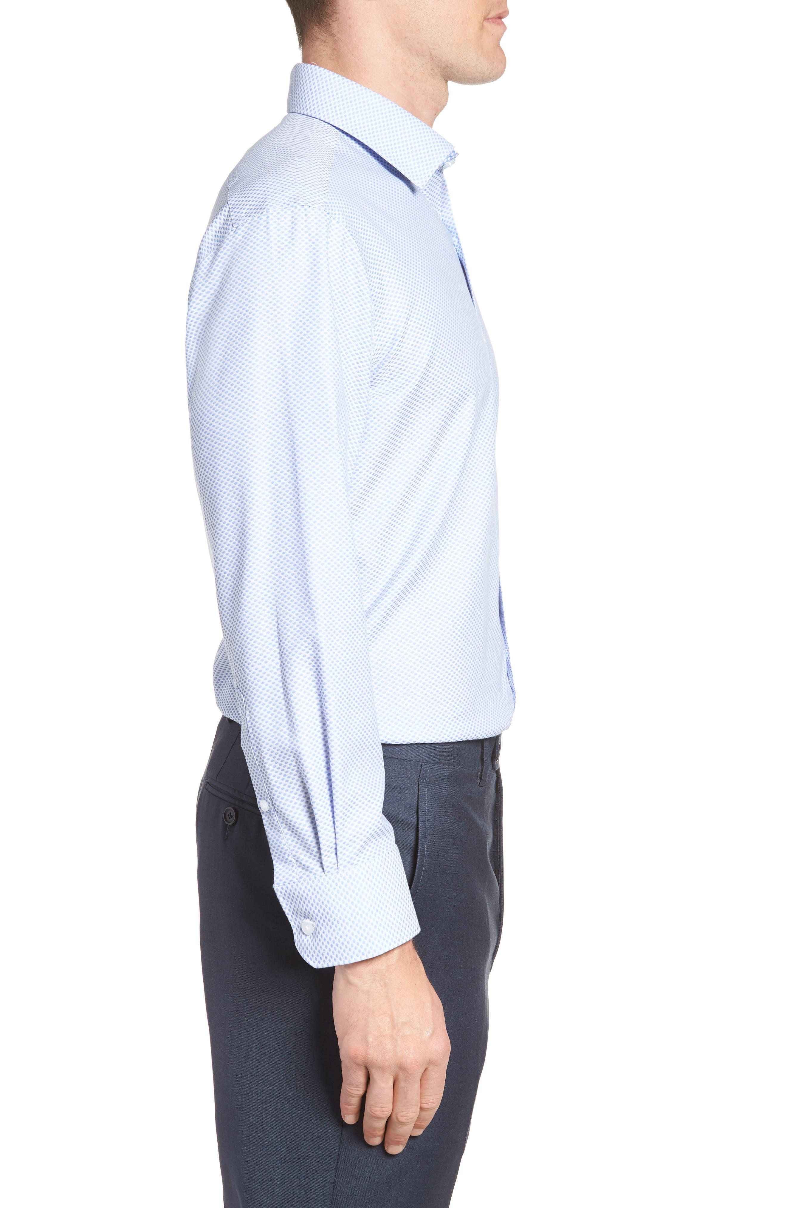 Bigbenn Trim Fit Dot Dress Shirt,                             Alternate thumbnail 4, color,                             BLUE