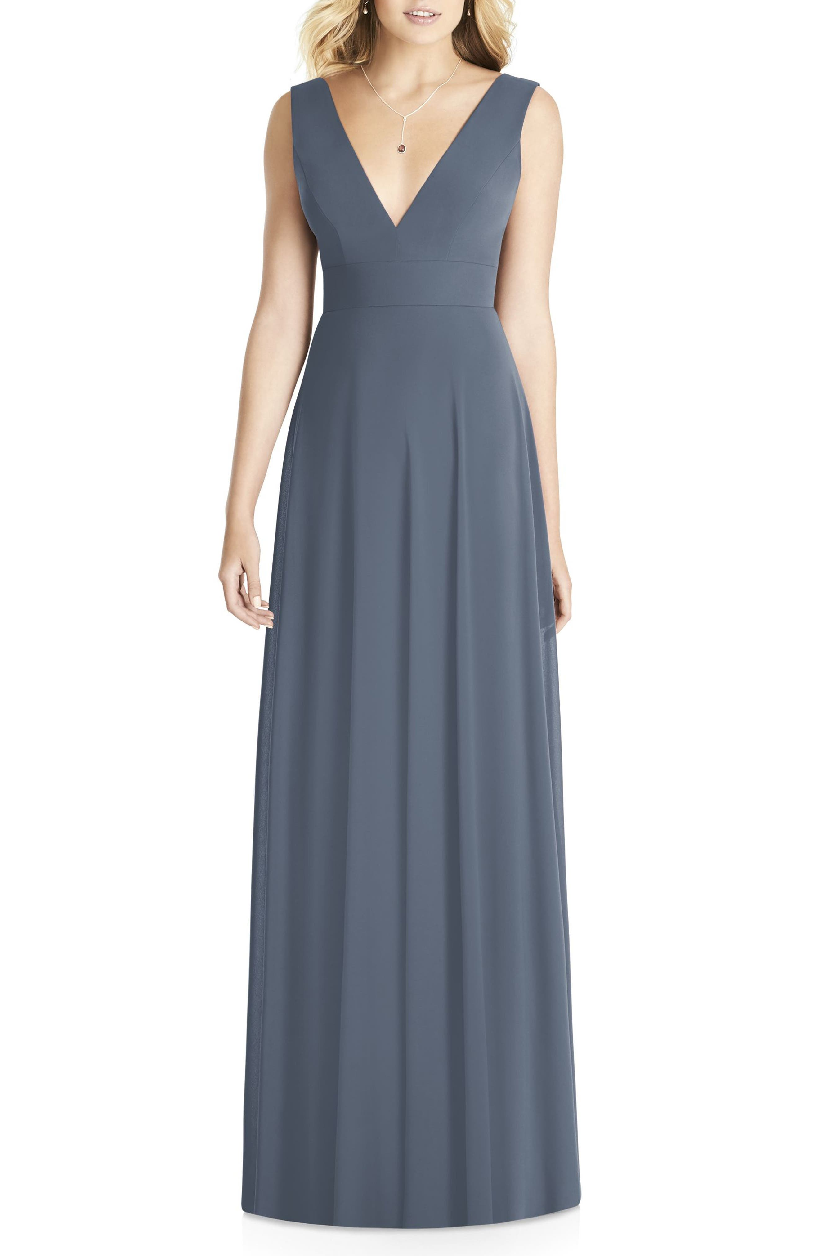 Matte Chiffon Gown,                             Main thumbnail 1, color,                             SILVERSTONE