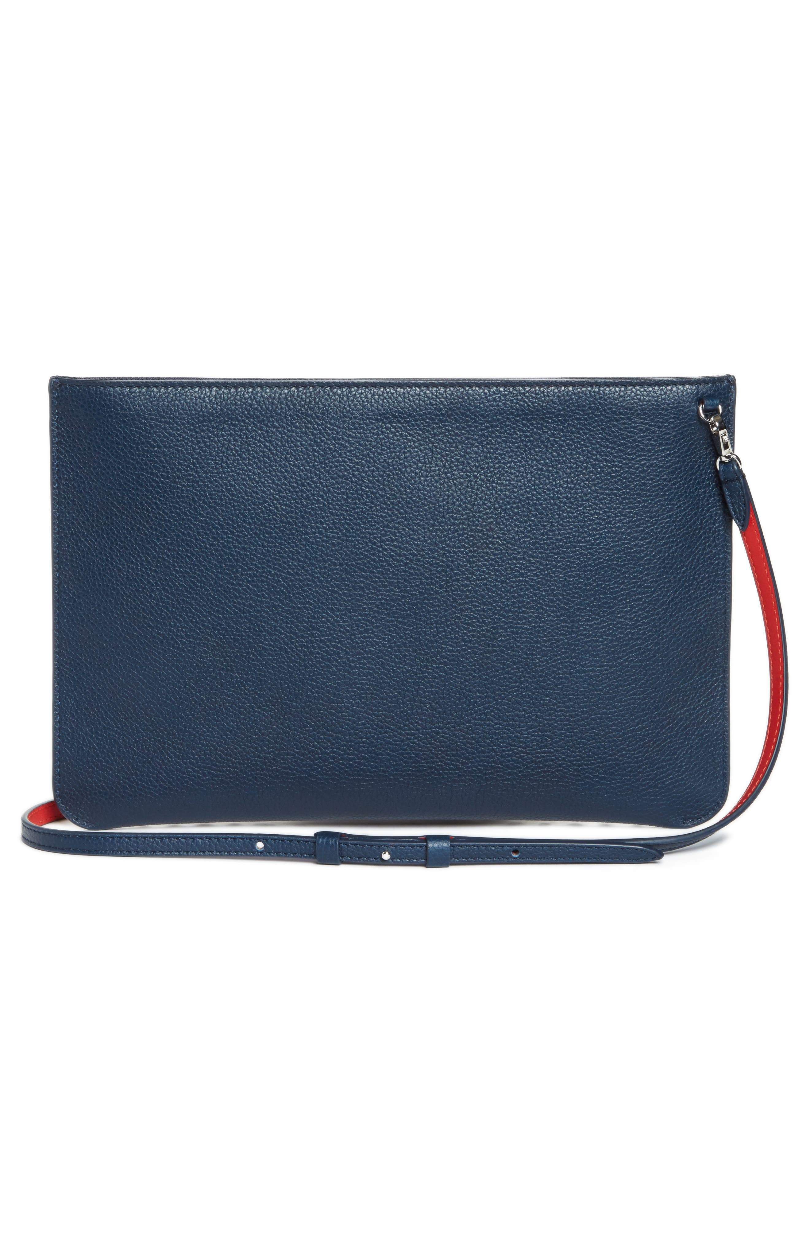 Loubiclutch Spiked Leather Clutch,                             Alternate thumbnail 3, color,                             419