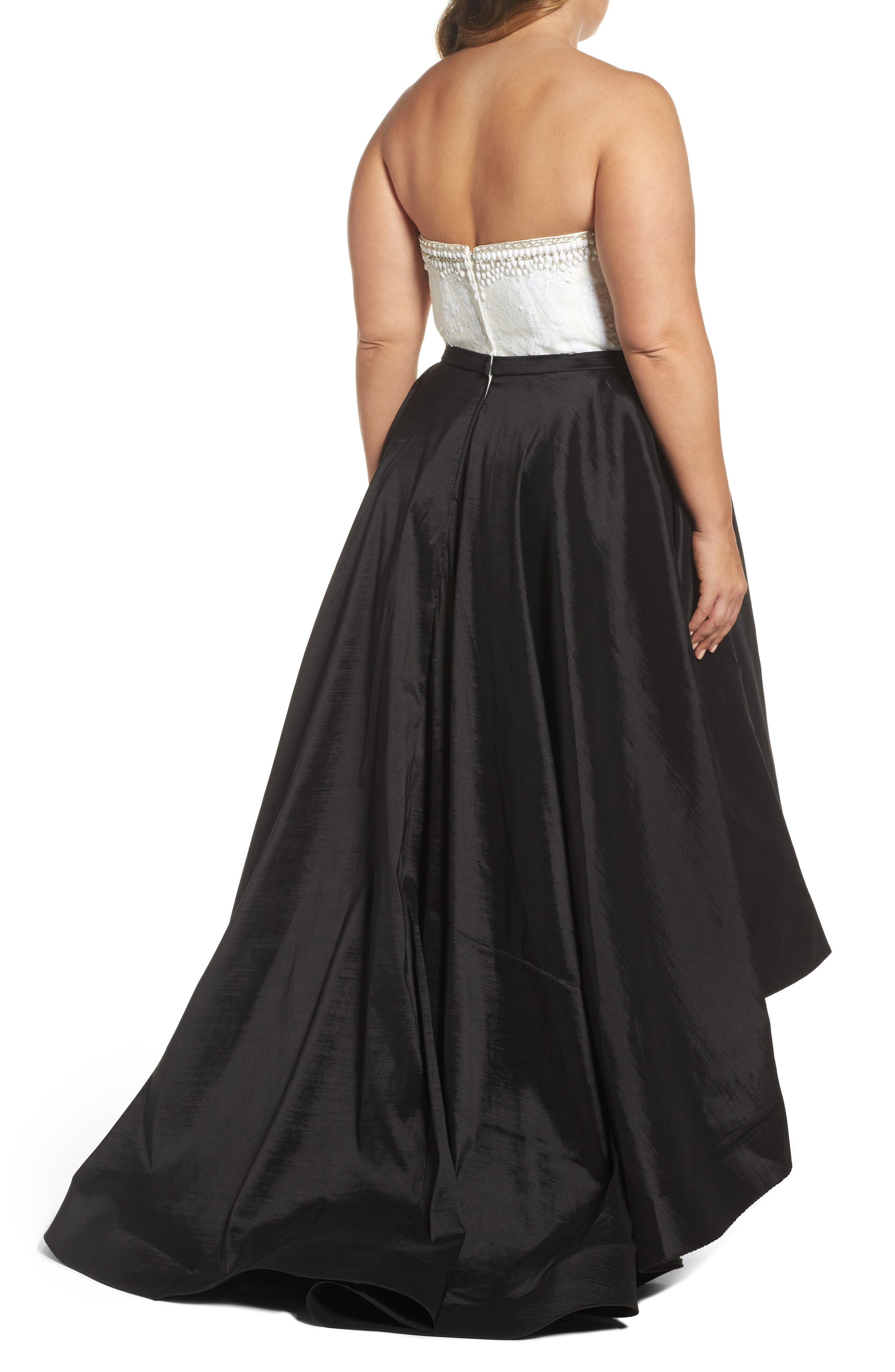 Embellished Lace & Taffeta Strapless High/Low Gown,                             Alternate thumbnail 2, color,                             BLACK/ WHITE