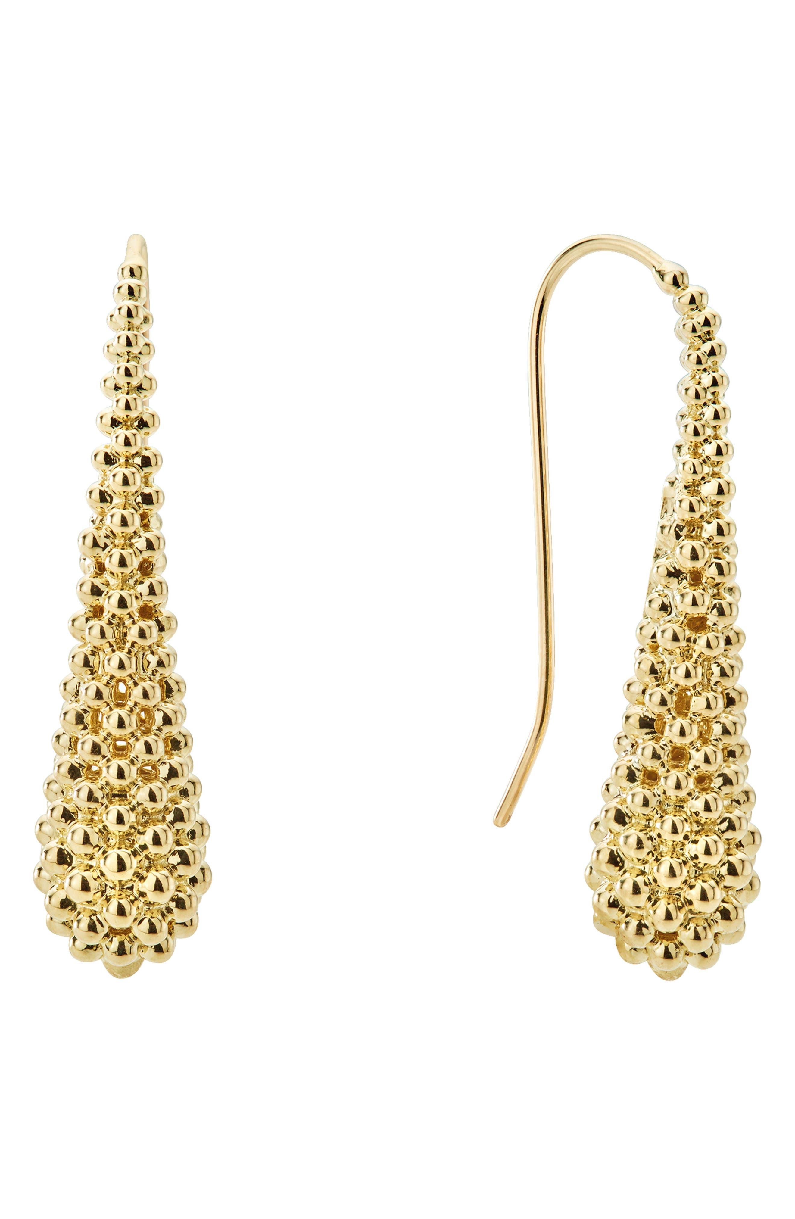 Caviar Gold Teardrop Earrings,                         Main,                         color, GOLD