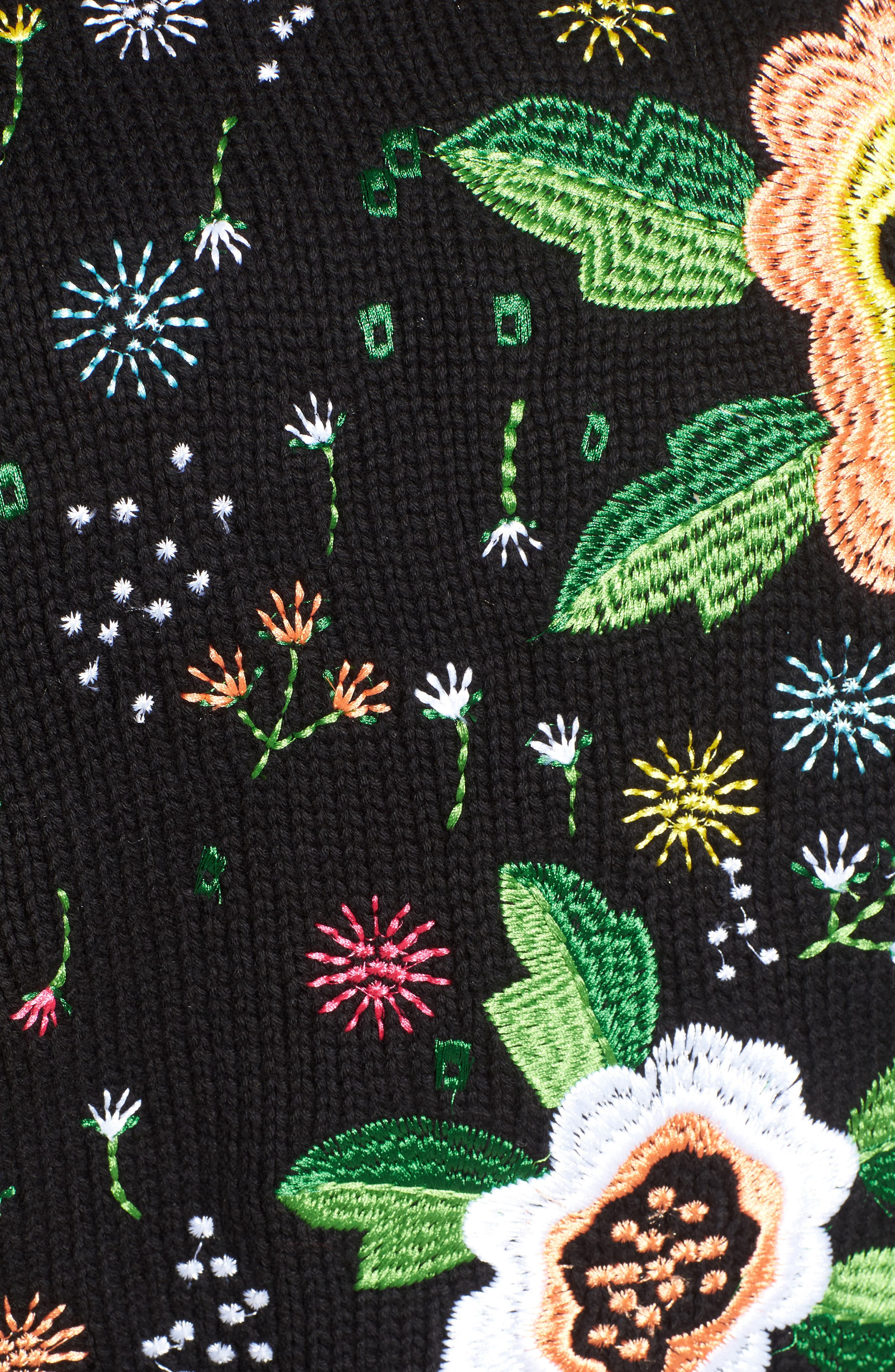 Floral Embroidered Sweater,                             Alternate thumbnail 5, color,                             001