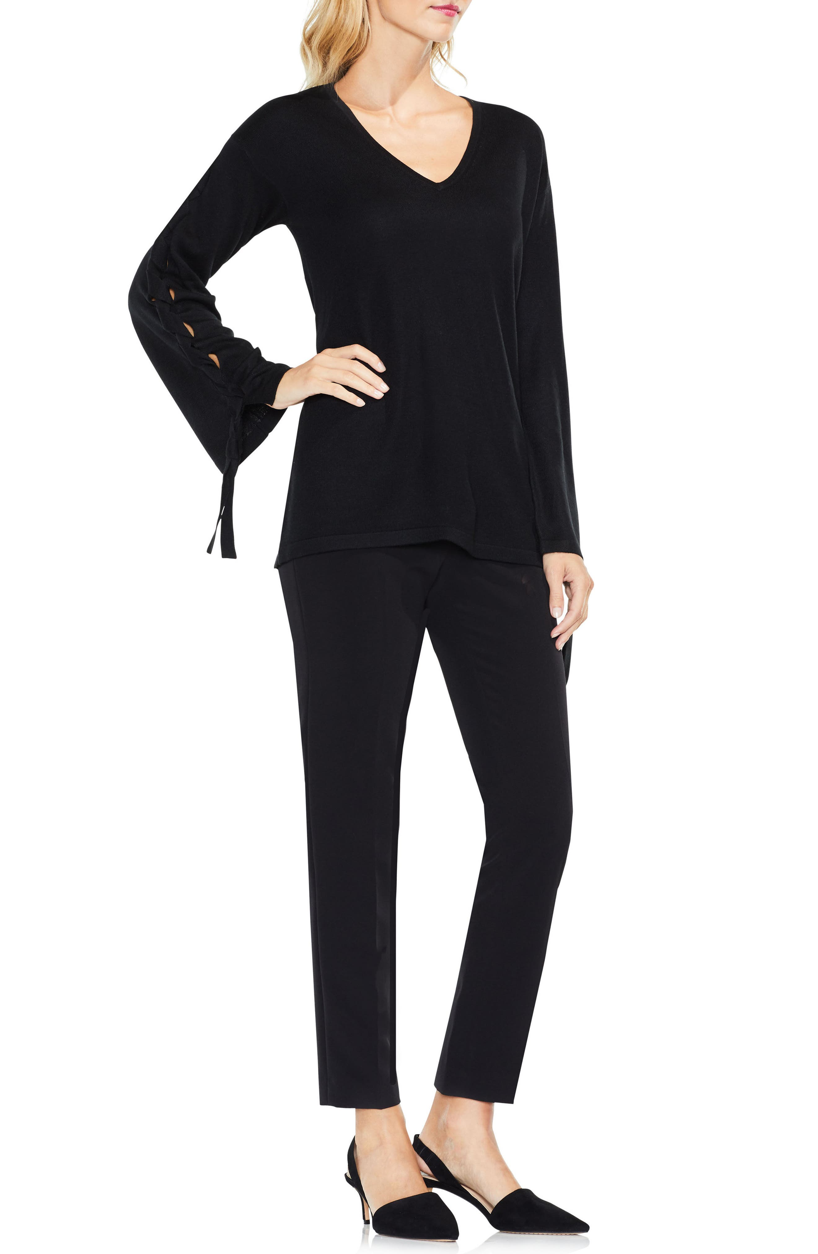 Lace-Up Bell Sleeve Sweater,                             Alternate thumbnail 3, color,                             006