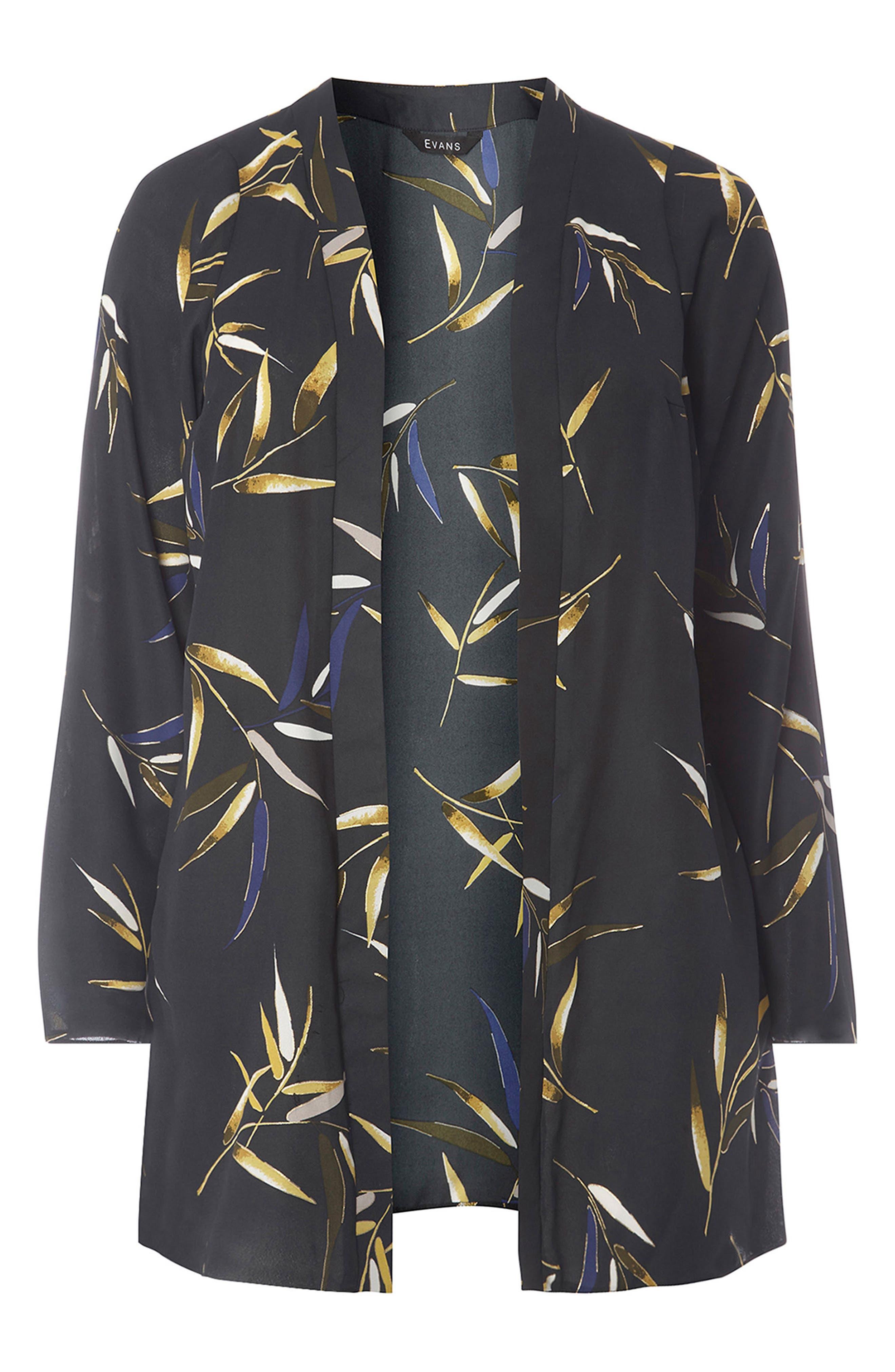 Foiled Leaf Print Kimono Jacket,                             Alternate thumbnail 4, color,