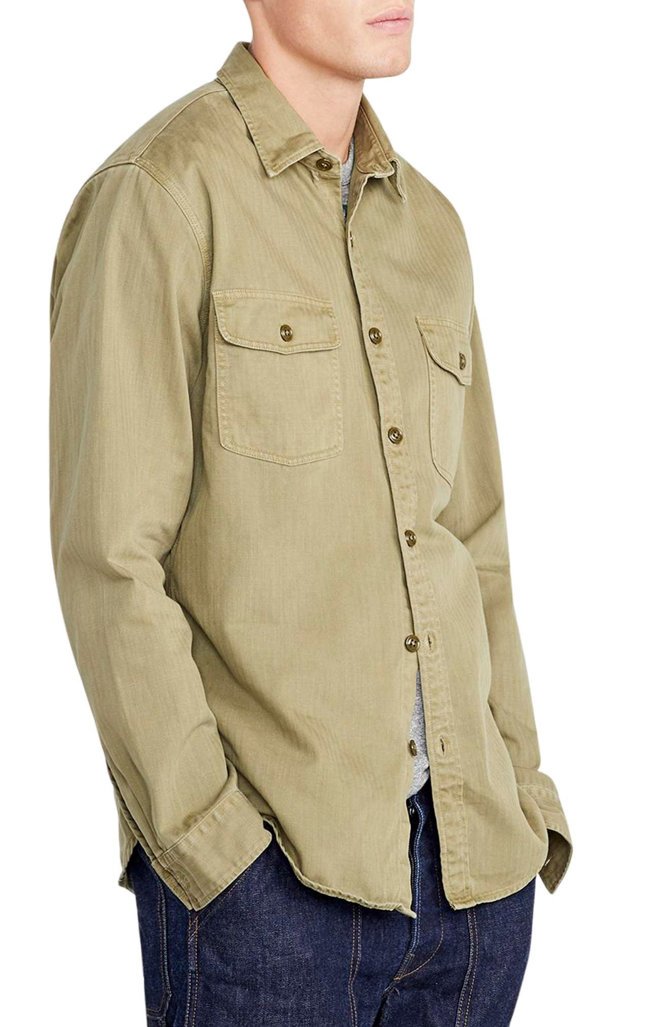 Wallace & Barnes Two-Pocket Workshirt,                             Alternate thumbnail 3, color,                             TUSCAN OLIVE